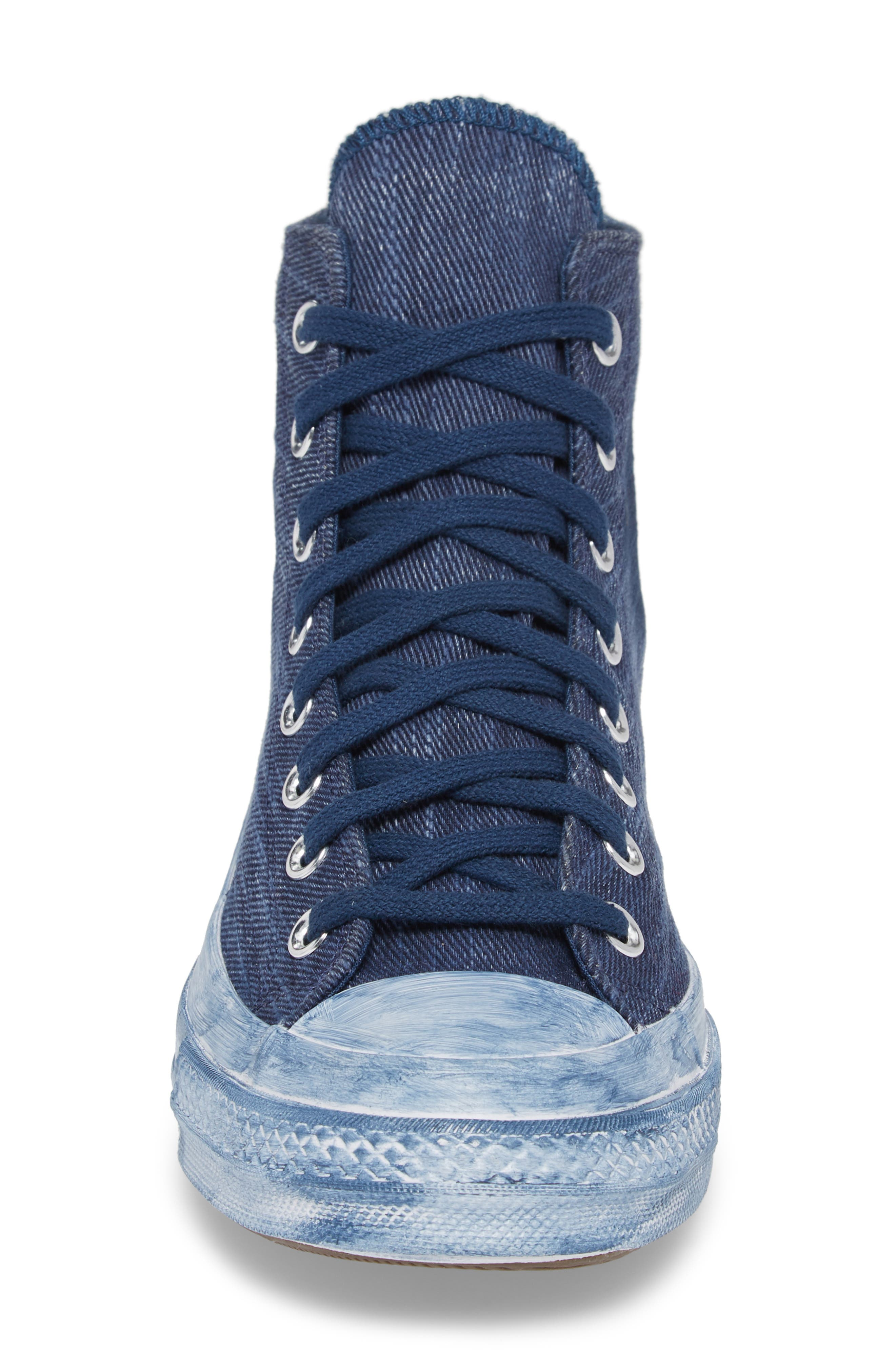 Chuck Taylor<sup>®</sup> All Star<sup>®</sup> Overdyed Linen High Top Sneaker,                             Alternate thumbnail 4, color,                             Navy
