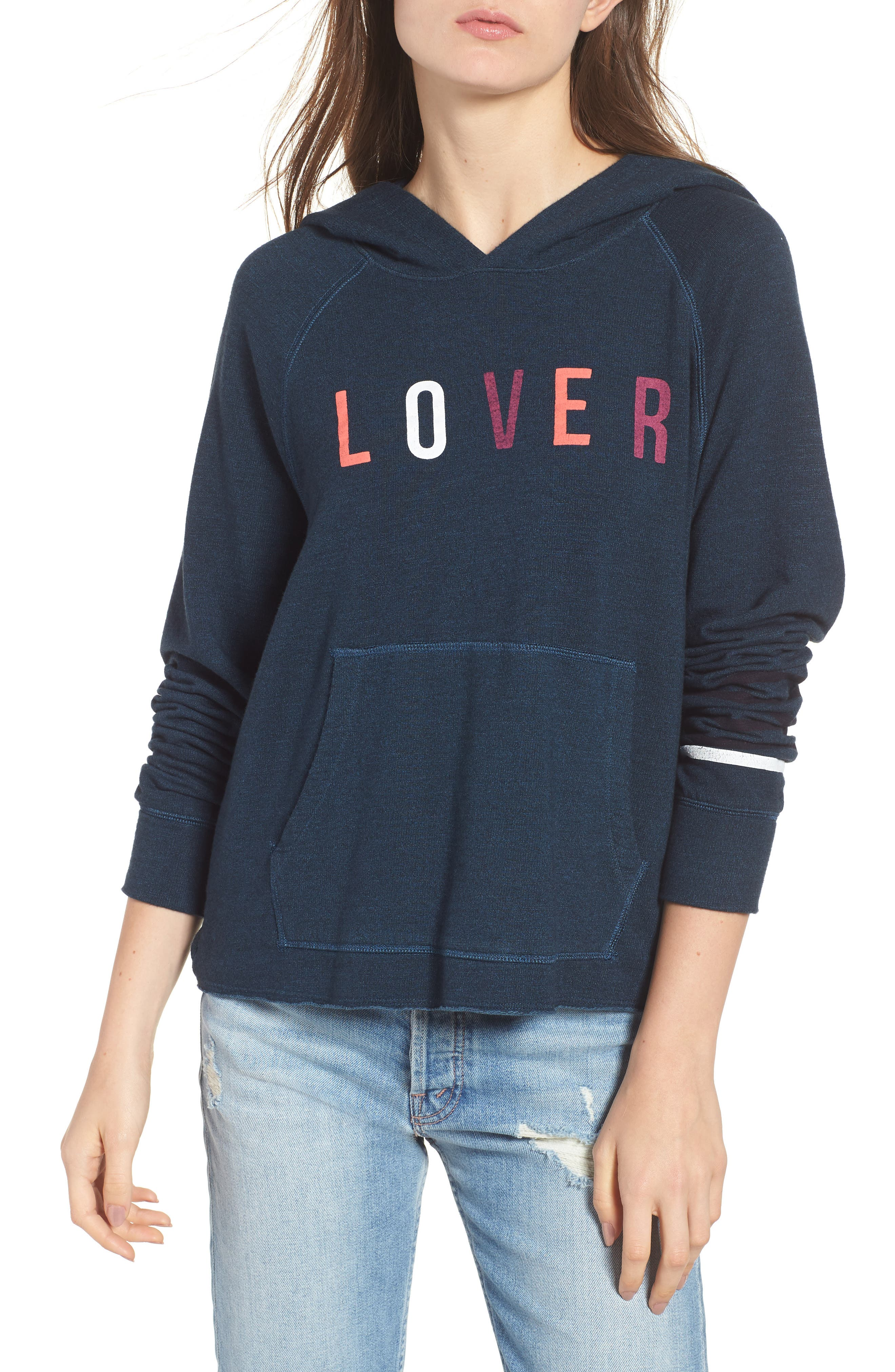 Lover Active Crop Hoodie,                             Main thumbnail 1, color,                             Storm
