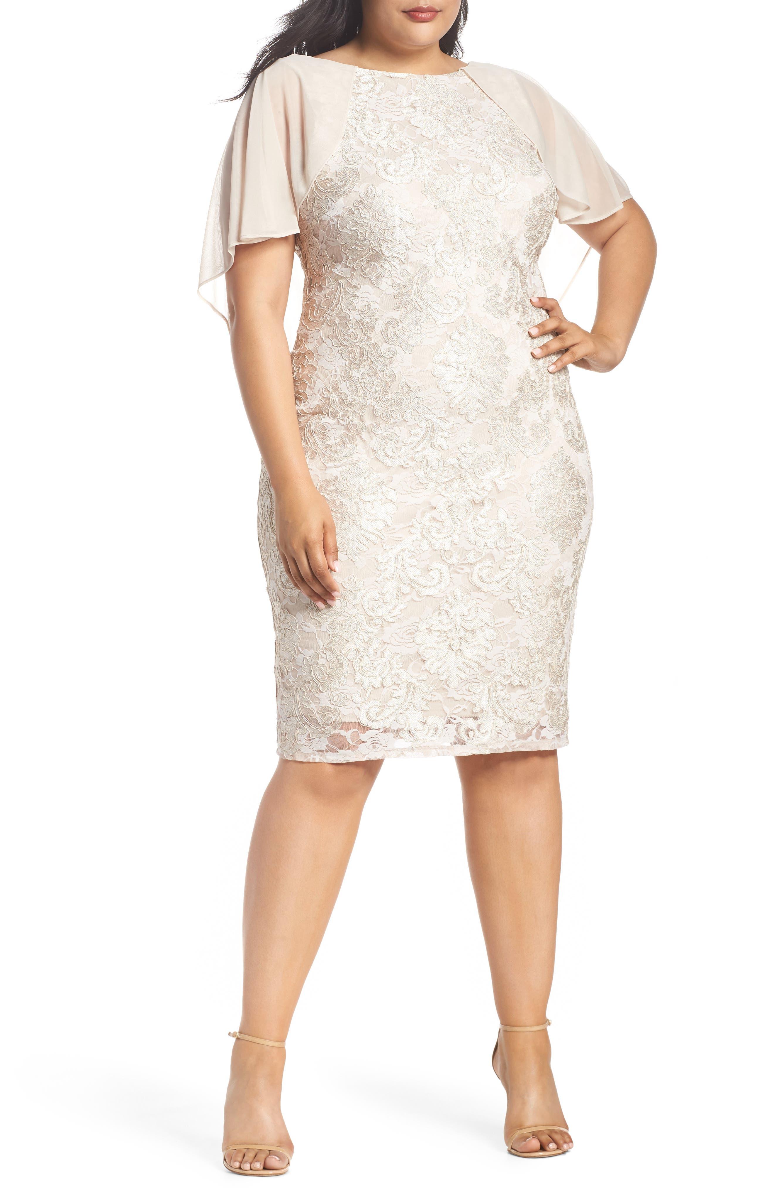 Marina Chiffon Capelet Lace Sheath Dress (Plus Size)