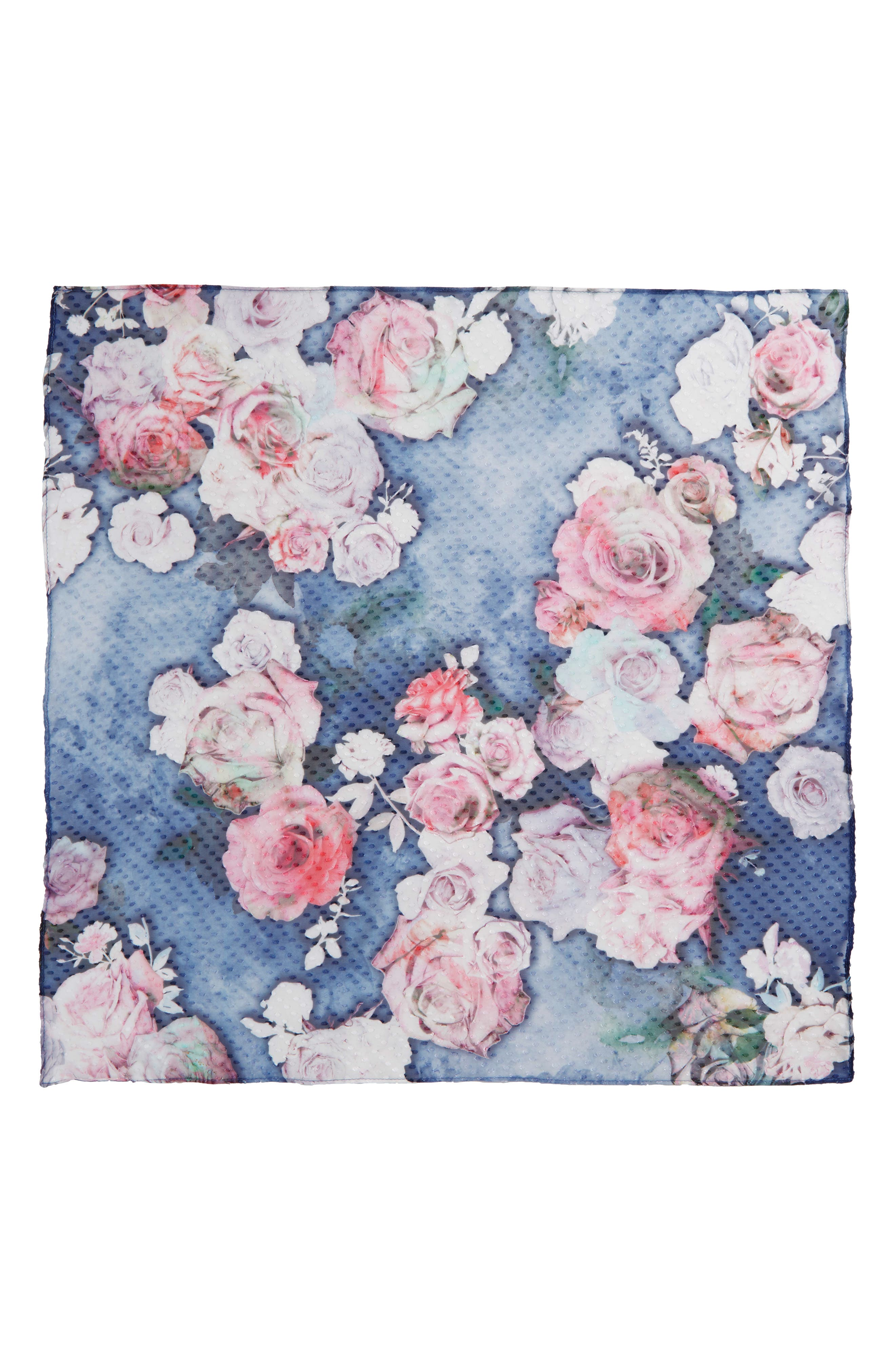 Jacquard Dot Silk Blend Scarf,                             Alternate thumbnail 2, color,                             Navy Water Garden
