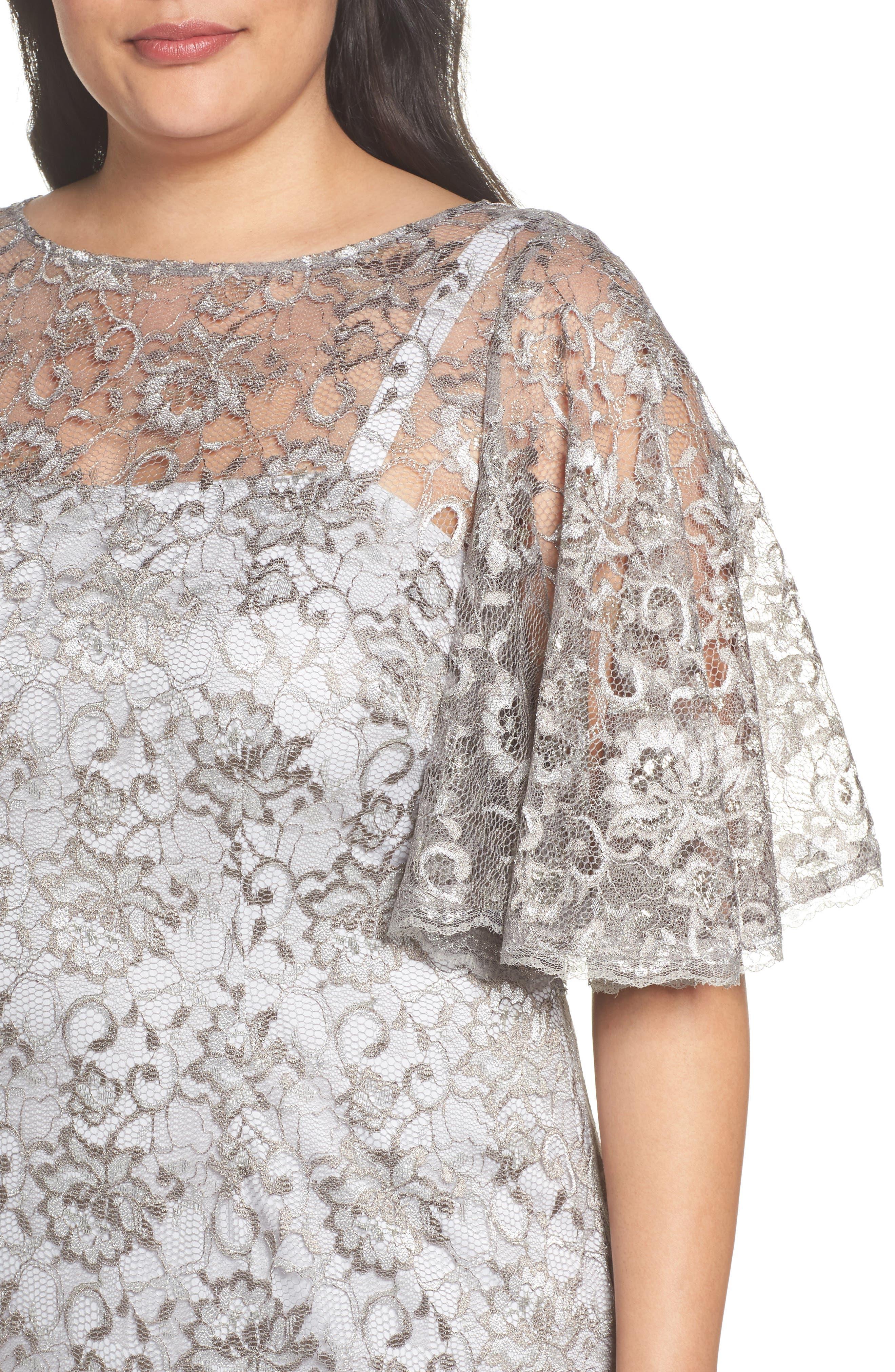 Flutter Sleeve Lace Sheath Dress,                             Alternate thumbnail 4, color,                             Silver