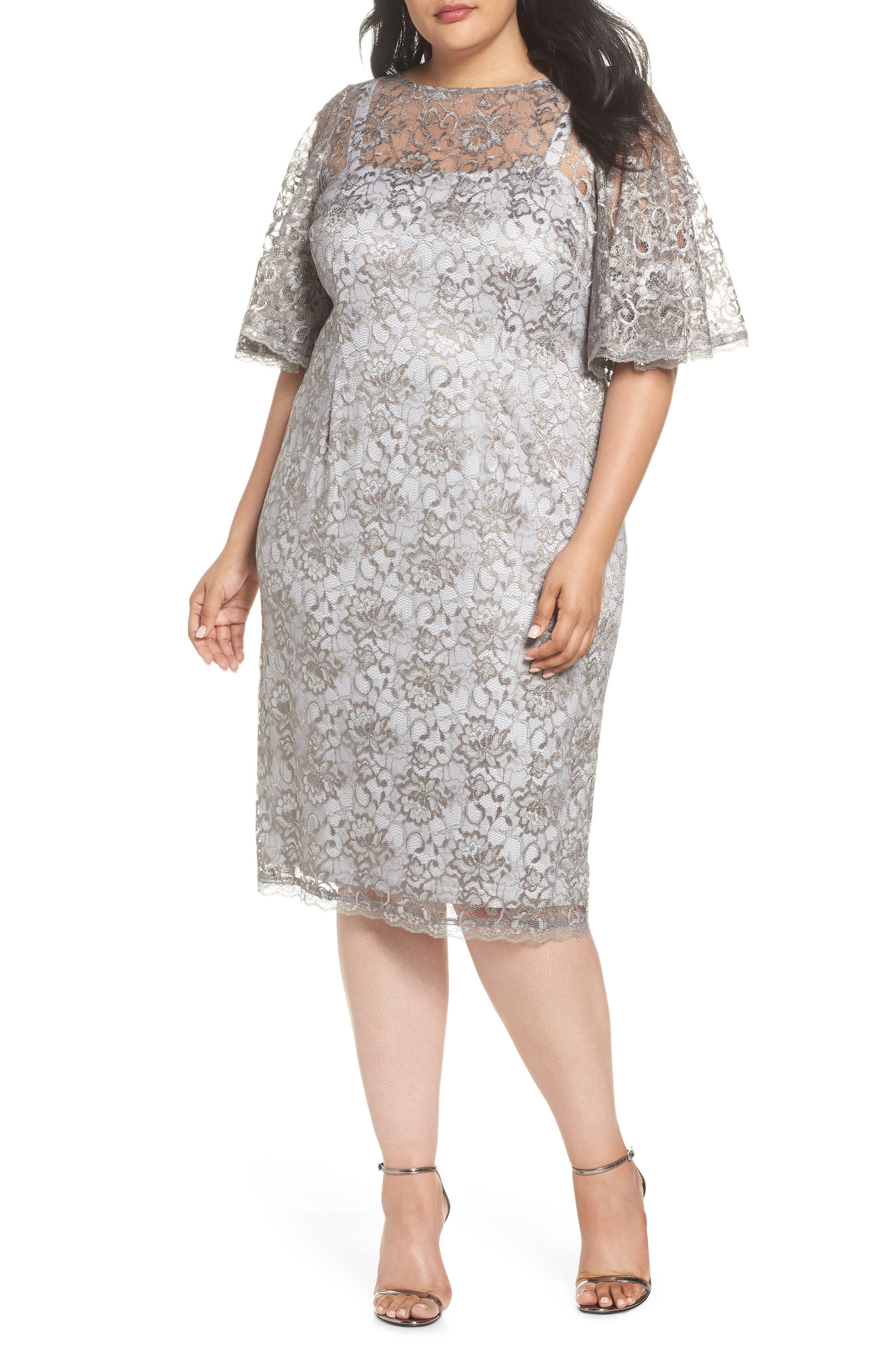 Flutter Sleeve Lace Sheath Dress,                             Main thumbnail 1, color,                             Silver