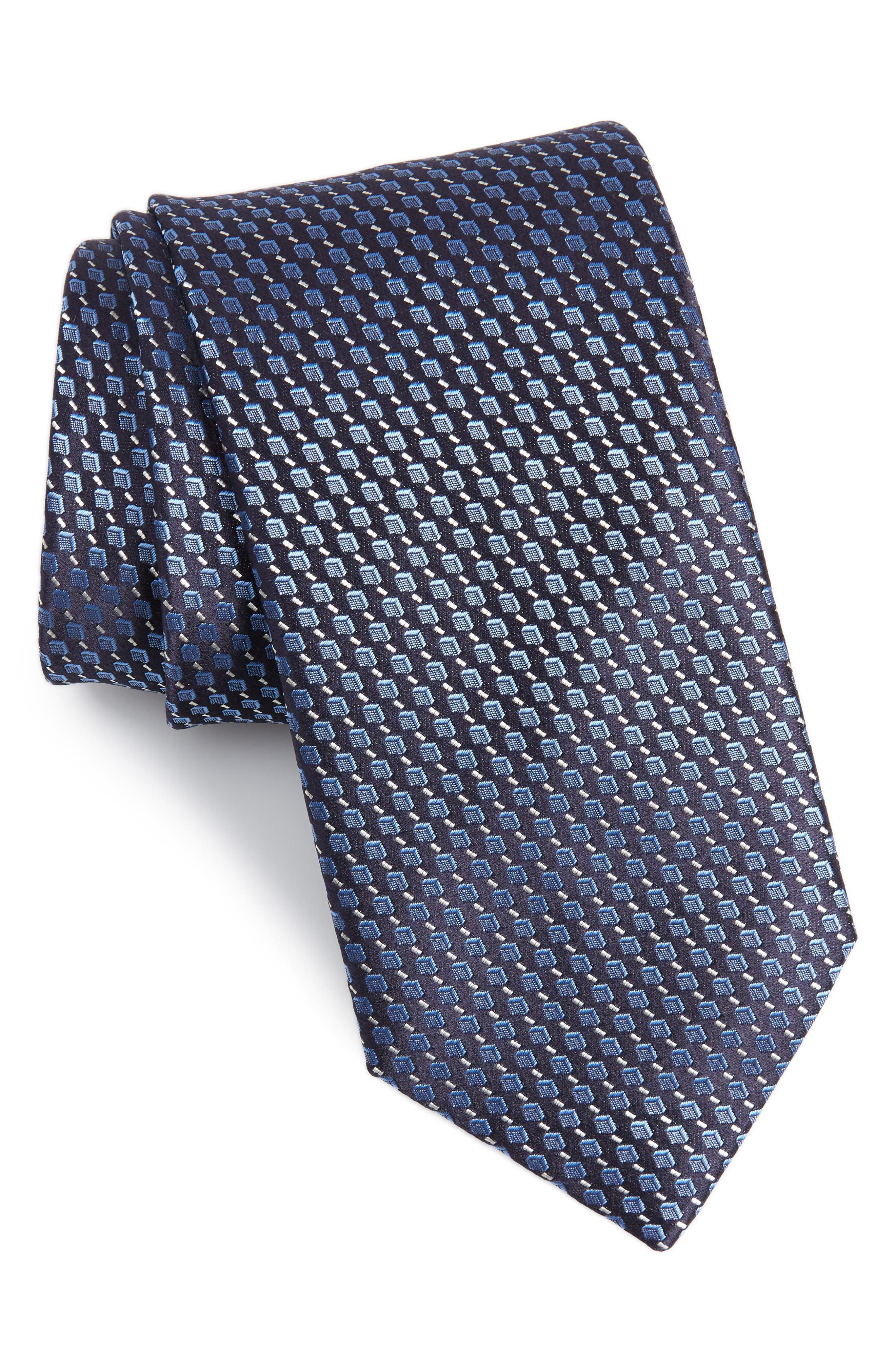 Geometric Silk Tie,                             Main thumbnail 1, color,                             Dark Blue