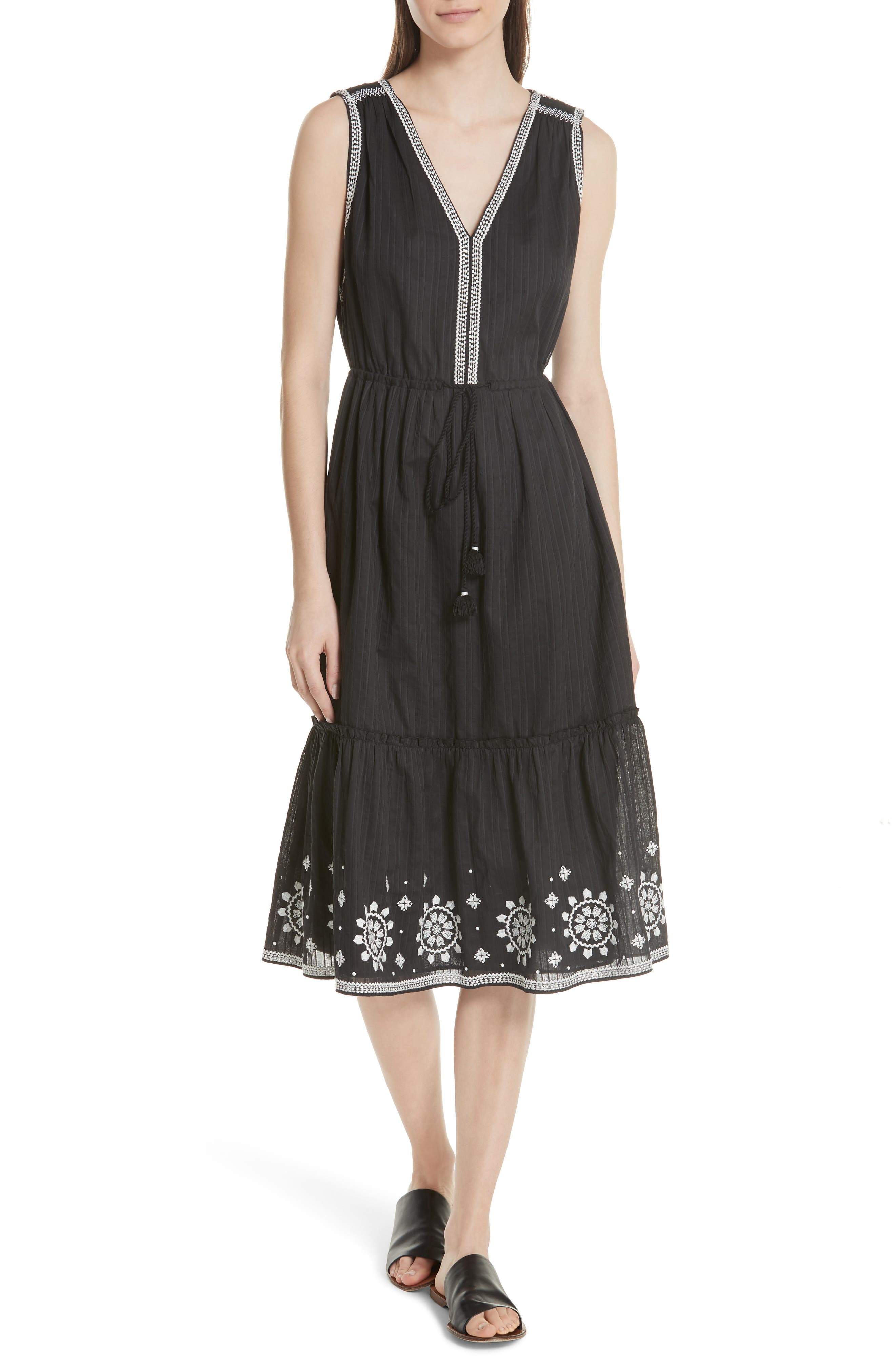 mosaic embroidered midi dress,                         Main,                         color, Black