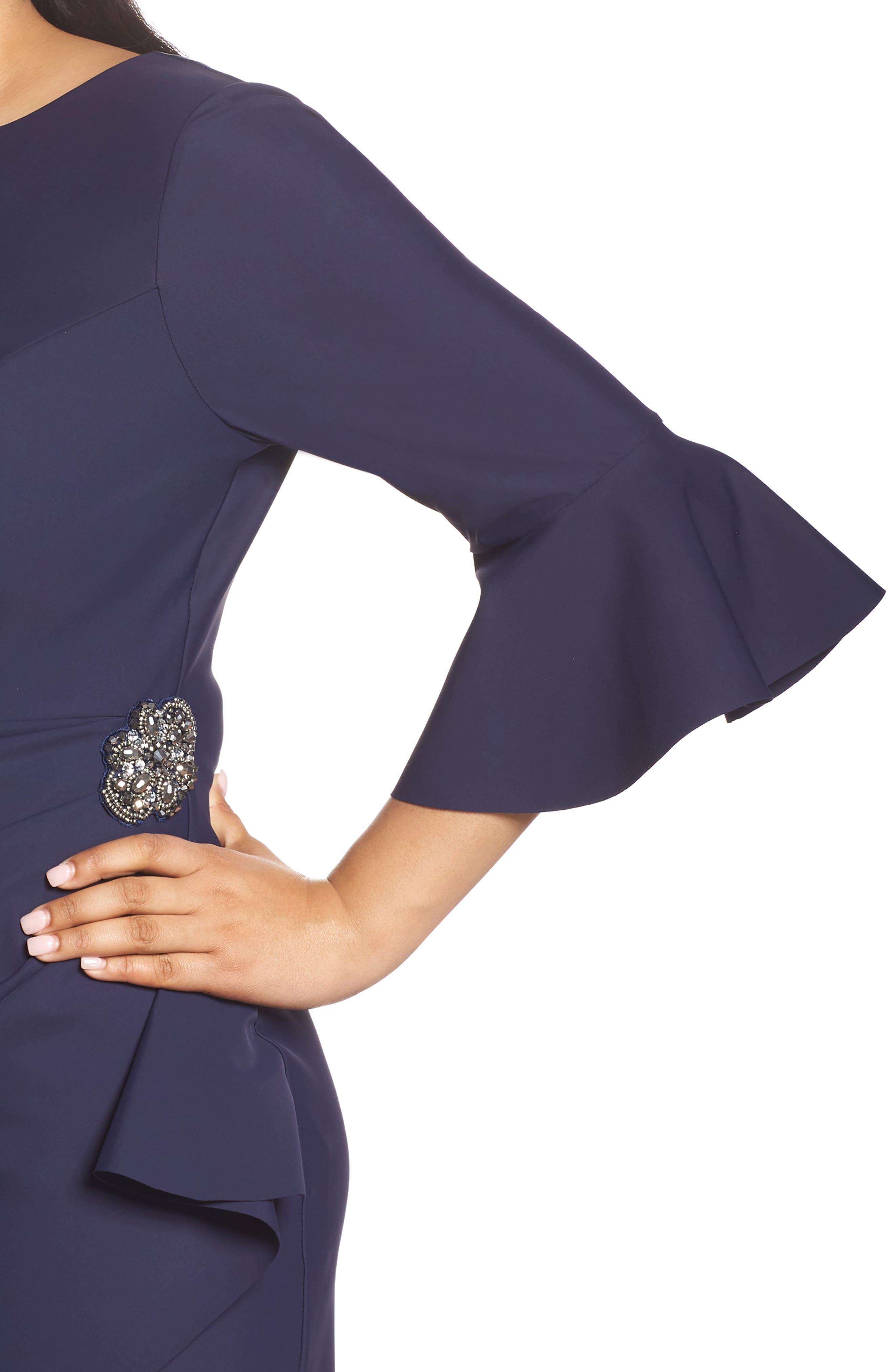 Bell Sleeve Sheath Dress,                             Alternate thumbnail 4, color,                             Navy
