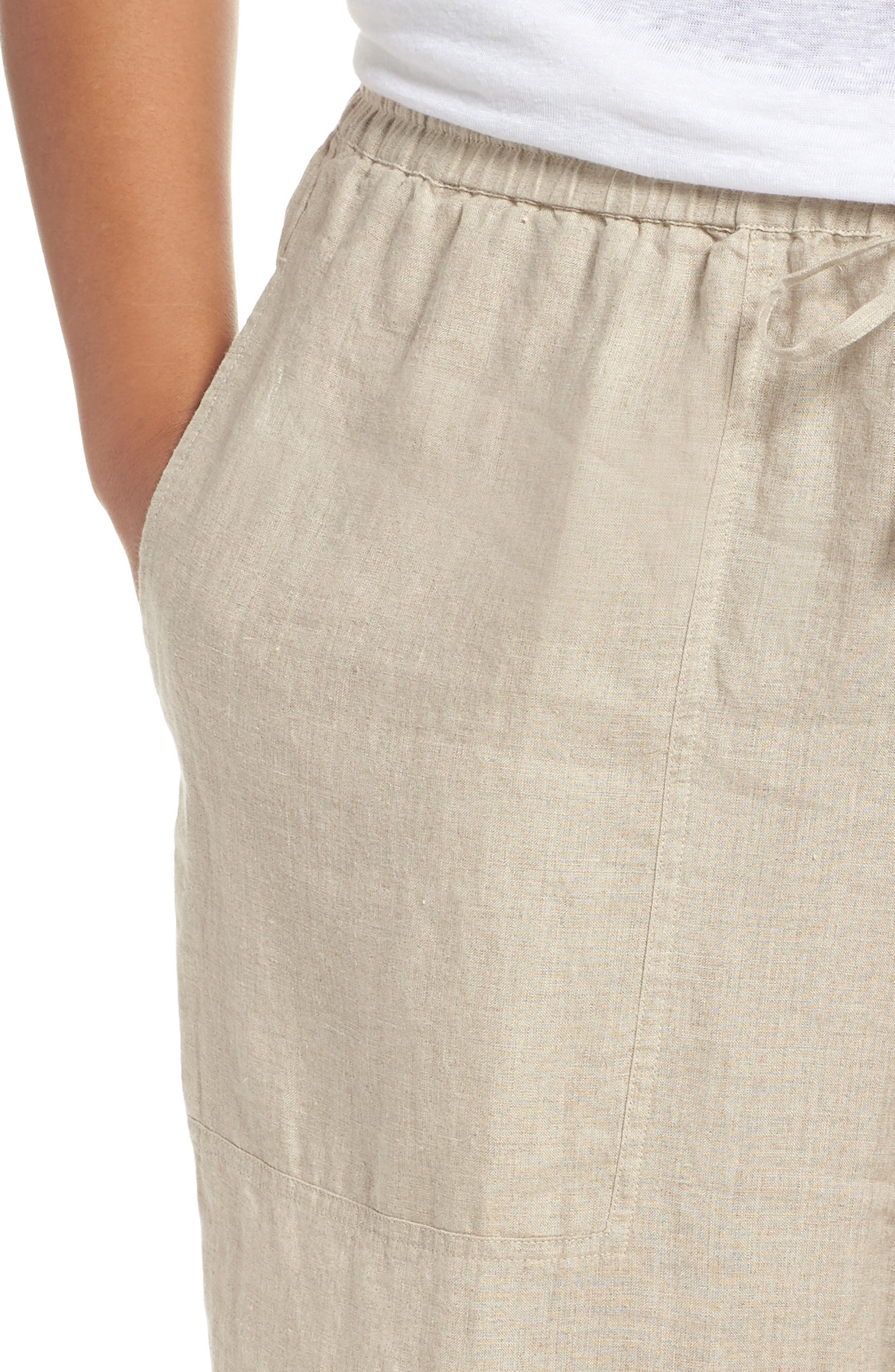 Organic Linen Ankle Pants,                             Alternate thumbnail 4, color,                             Undyed Natural
