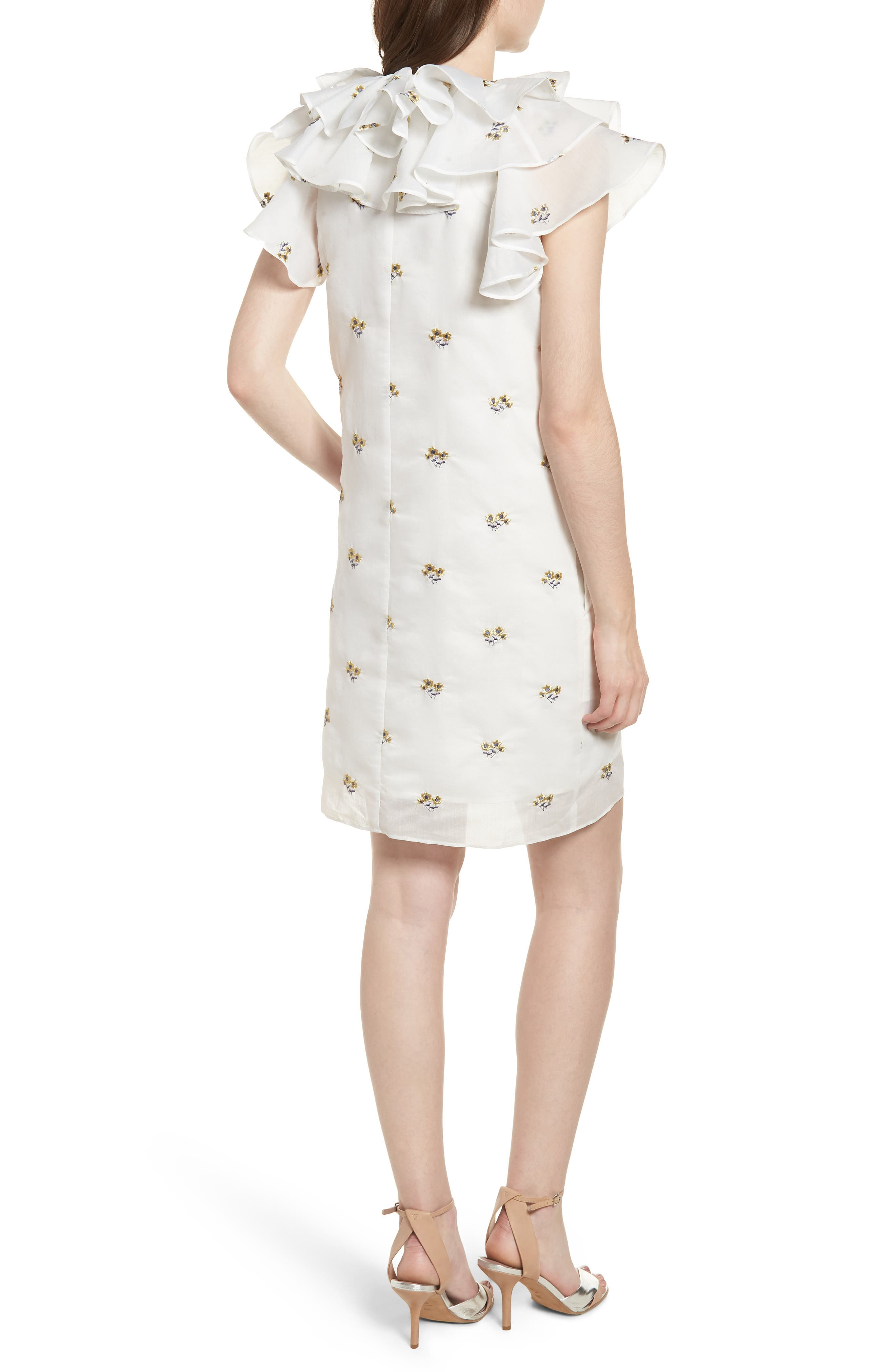 Theseus Embroidered Ruffle Dress,                             Alternate thumbnail 2, color,                             White