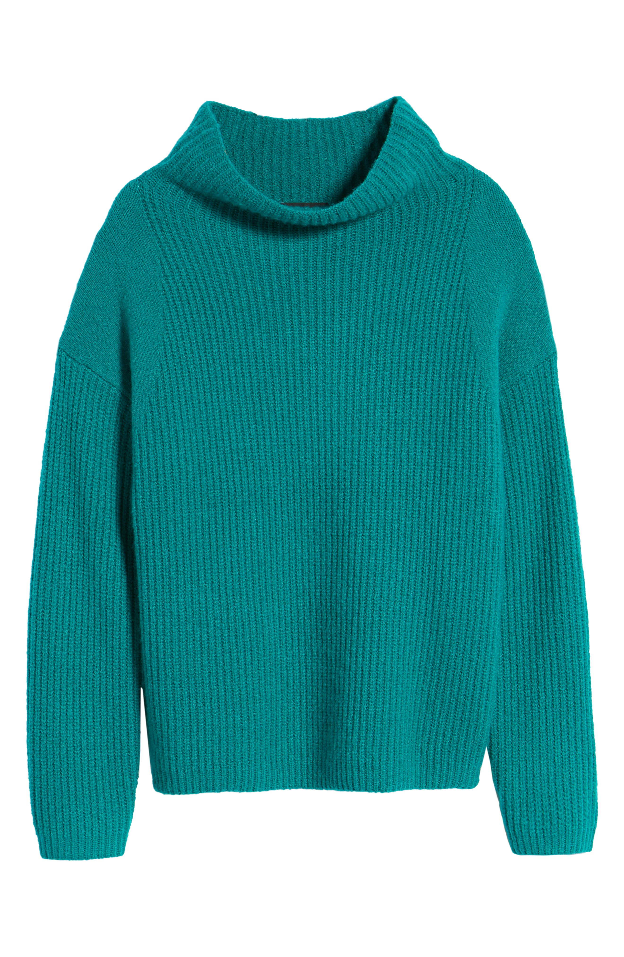Rib Funnel Neck Sweater,                             Alternate thumbnail 7, color,                             Teal Sail