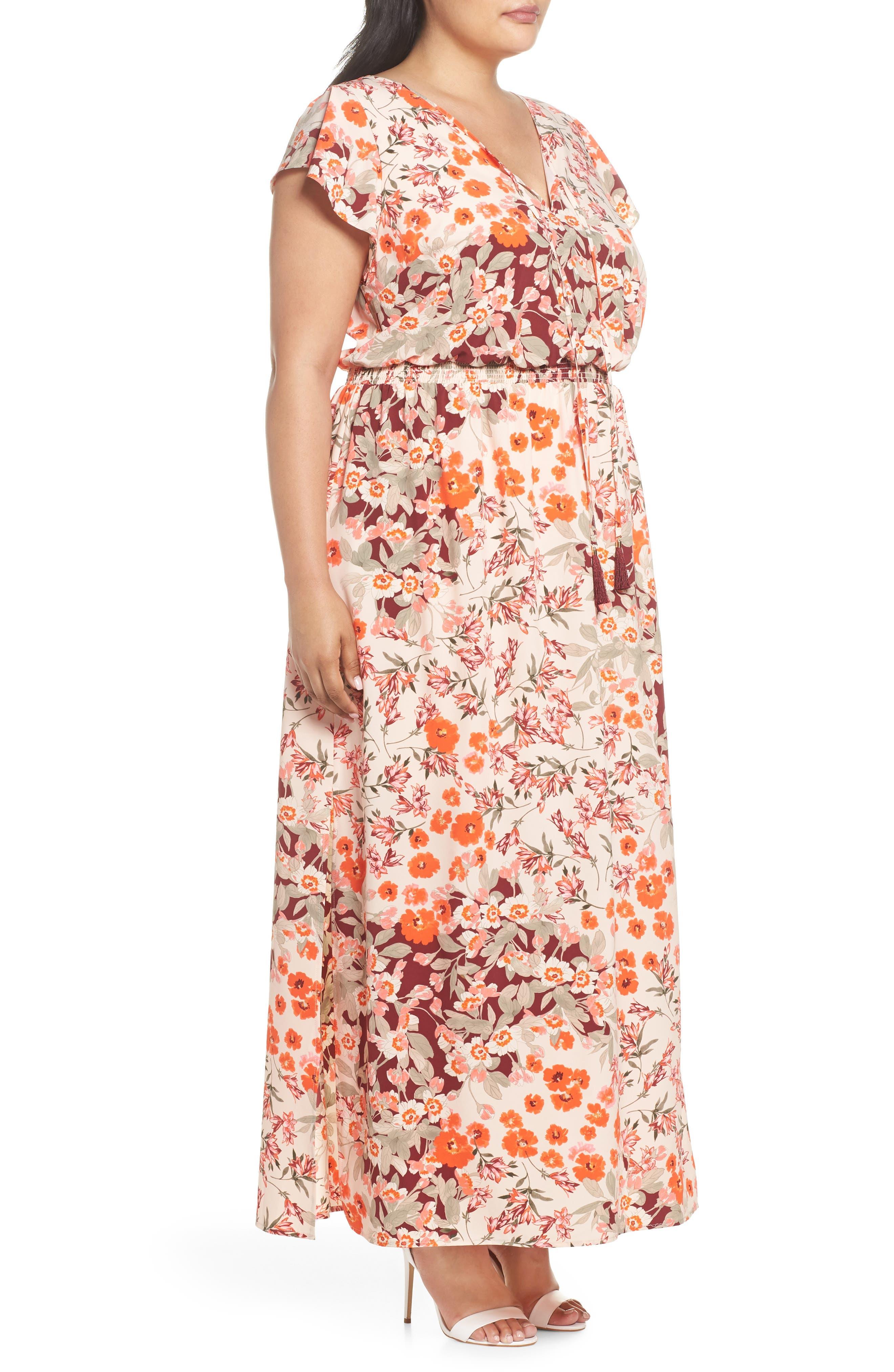 Floral Ruffle Sleeve Maxi Dress,                             Alternate thumbnail 3, color,                             Geranium Multi