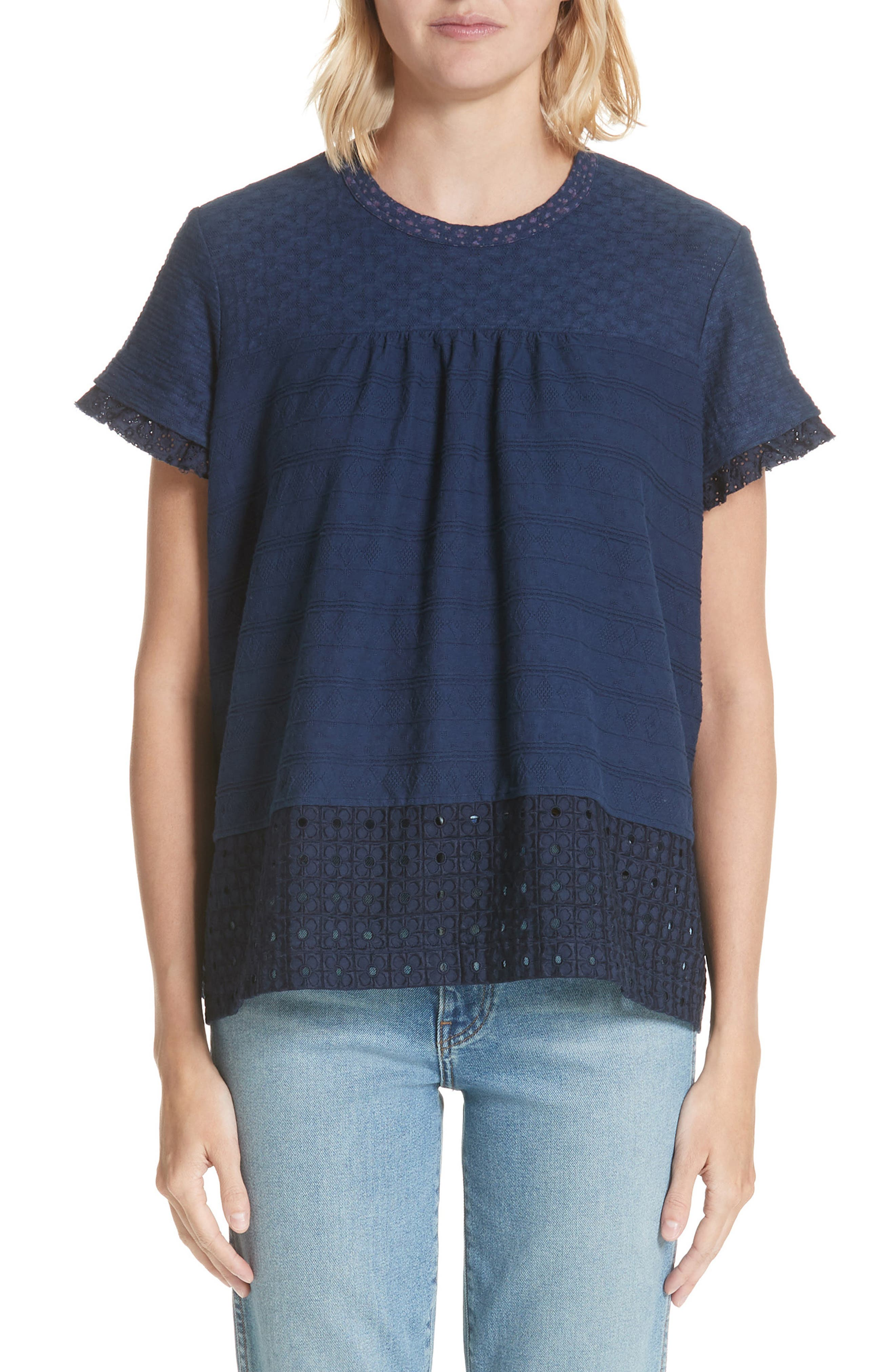 Eyelet Swing Tee,                         Main,                         color, Navy