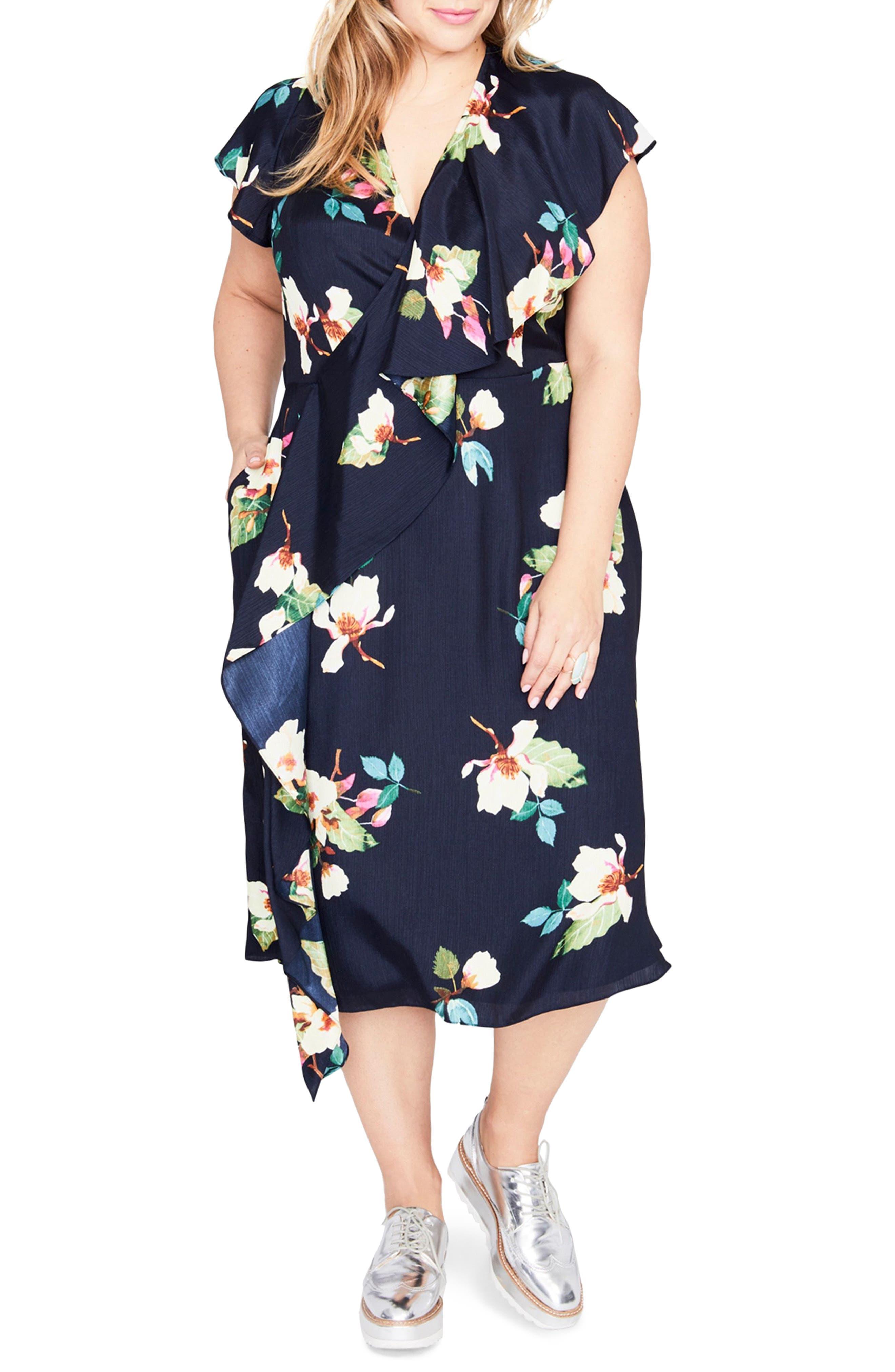 Magnolia Midi Dress,                             Main thumbnail 1, color,                             Navy Combo