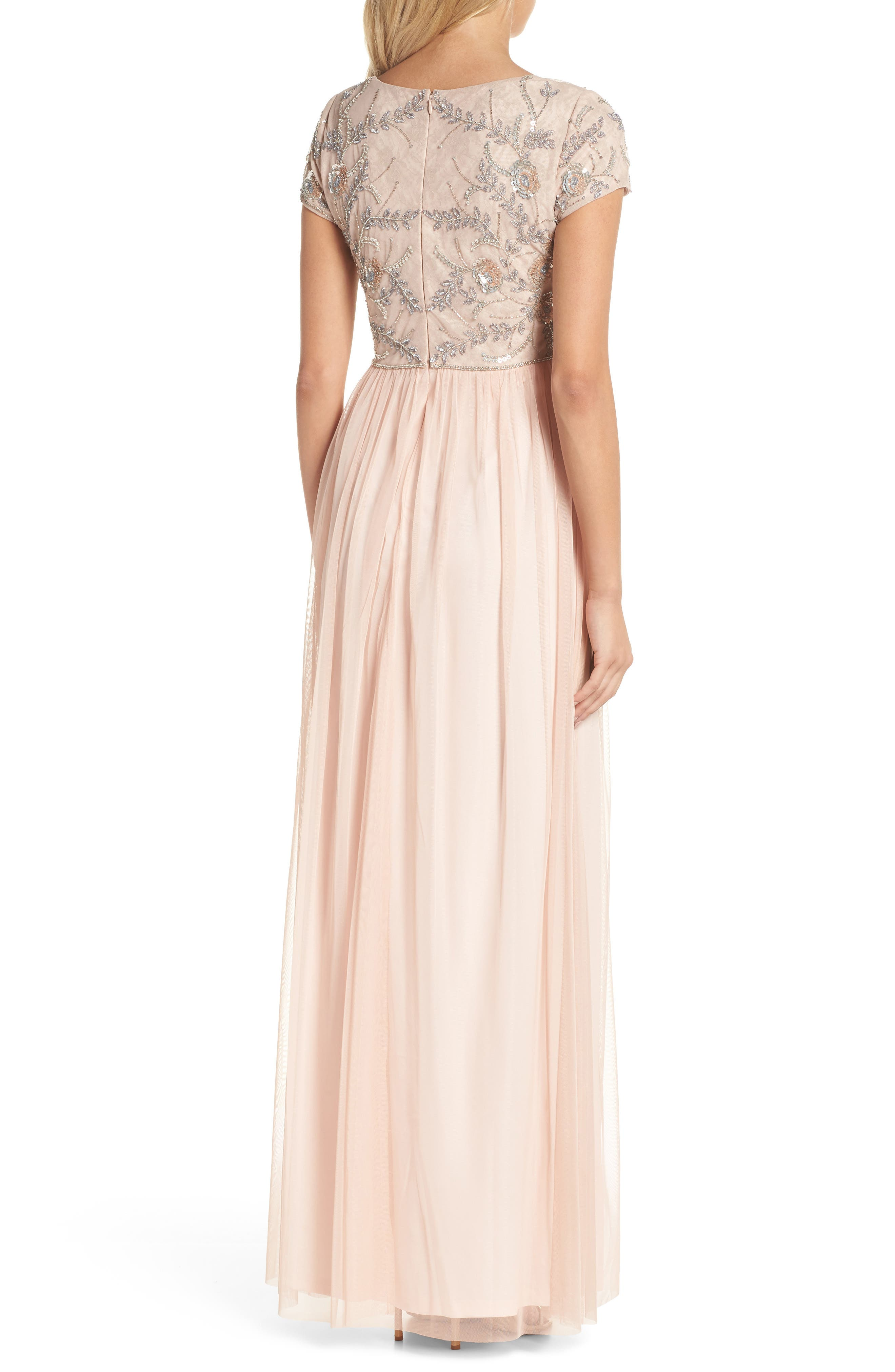 Beaded Mesh Gown,                             Alternate thumbnail 2, color,                             Blush