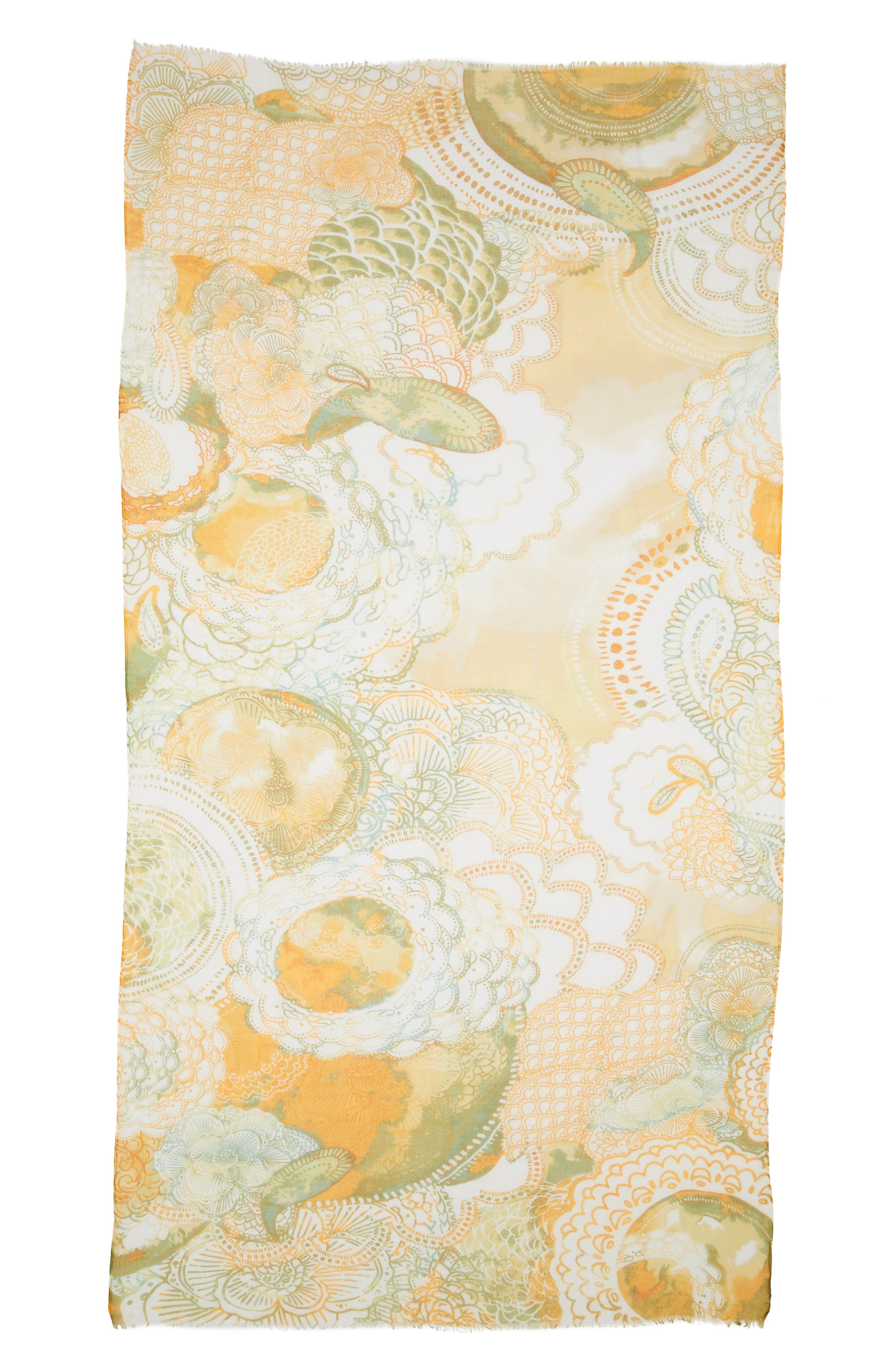 Print Modal & Silk Scarf,                             Alternate thumbnail 2, color,                             Yellow Mystical Beauty