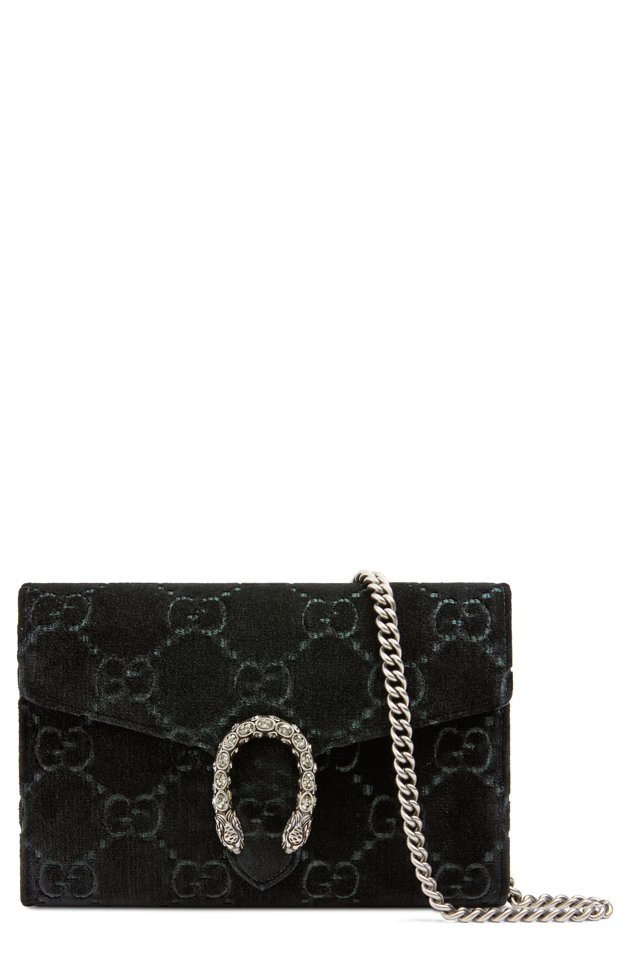 Dionysus Velvet Wallet on a Chain,                         Main,                         color, Nero/ Nero/ Black Diamond
