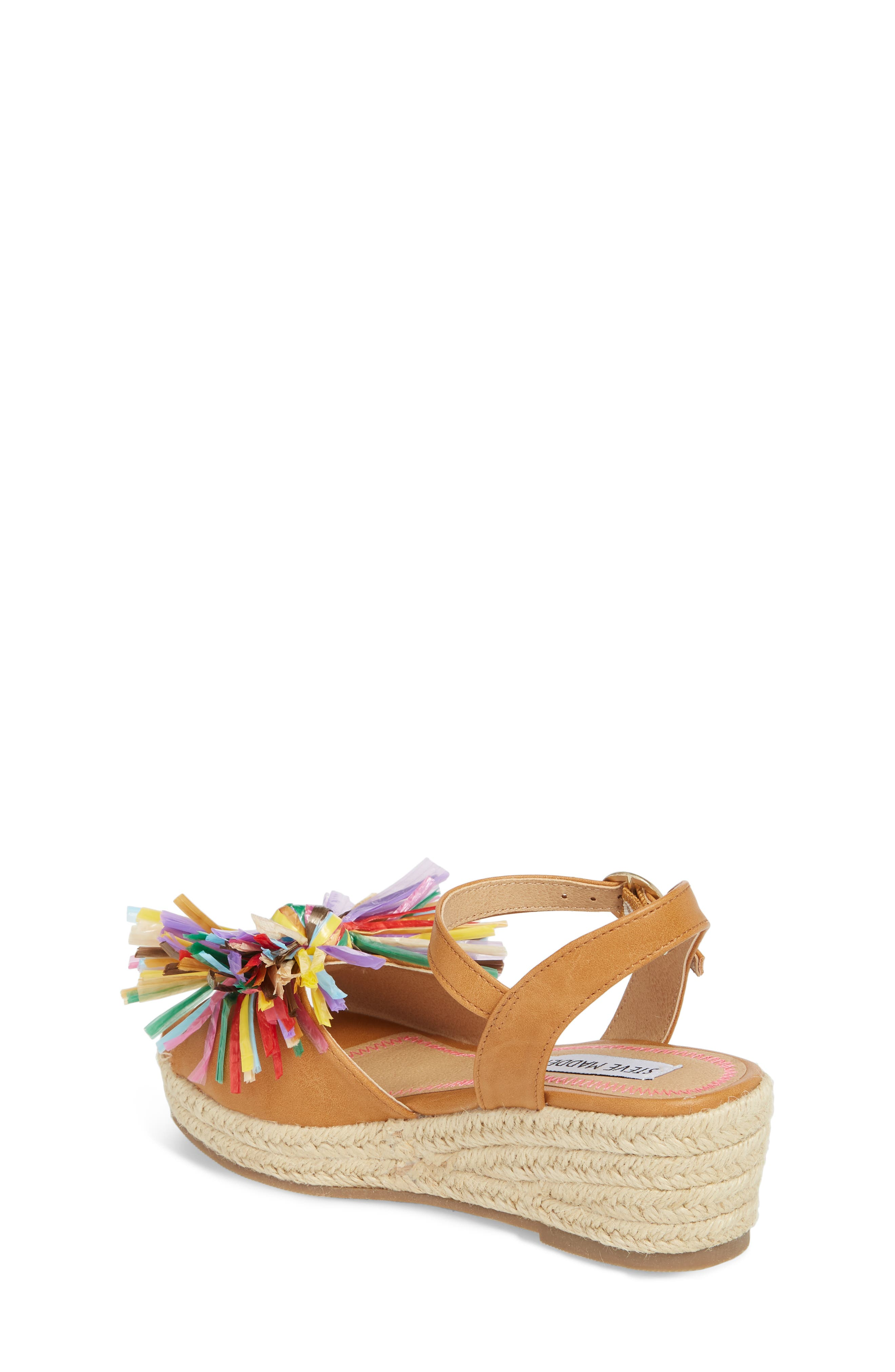 JSTRWBERI Wedge Sandal,                             Alternate thumbnail 2, color,                             Cognac Multi