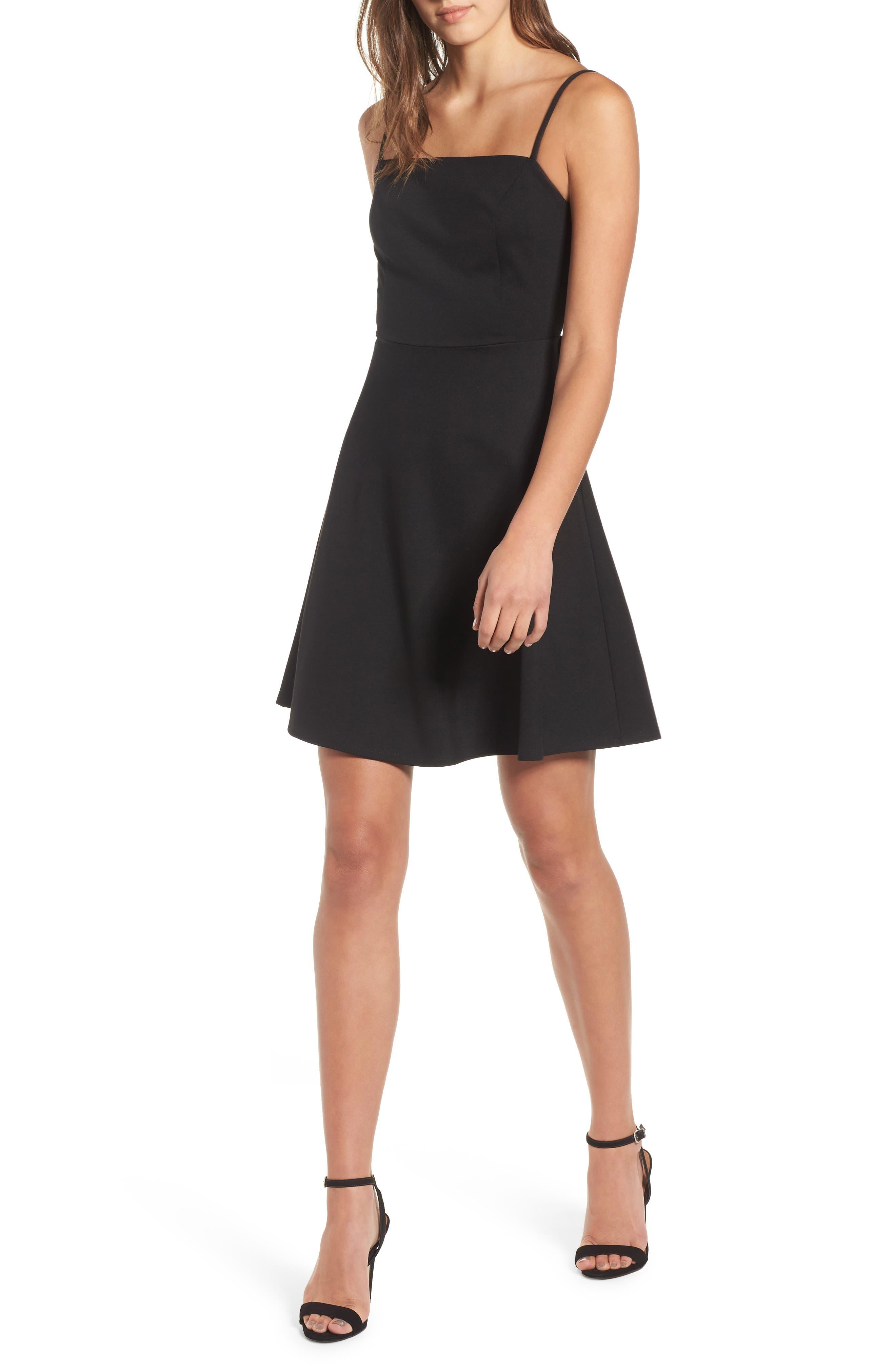 Backless Skater Dress,                             Main thumbnail 1, color,                             Black