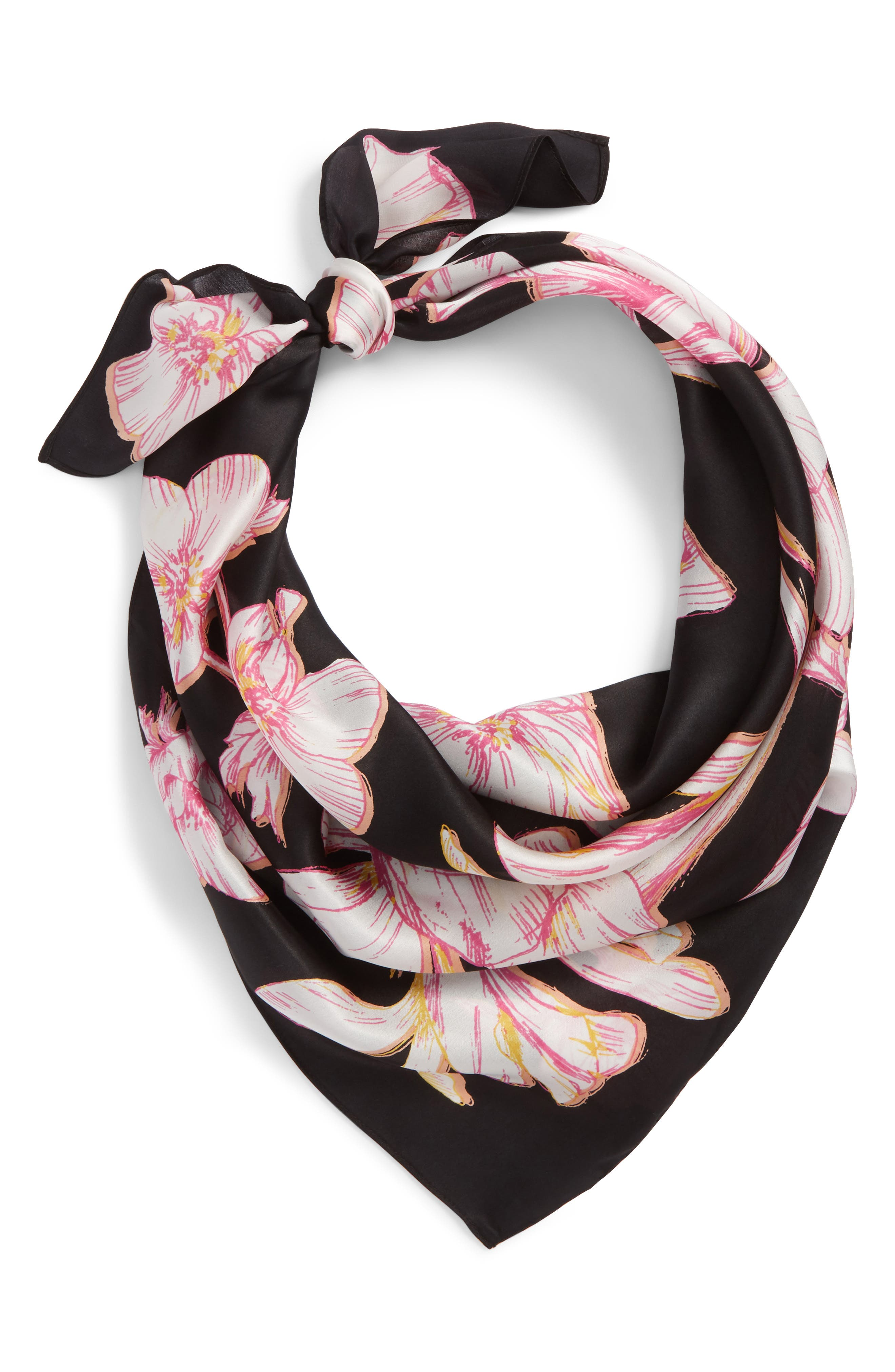 Print Silk Scarf,                         Main,                         color, Black Orchestra Blooms