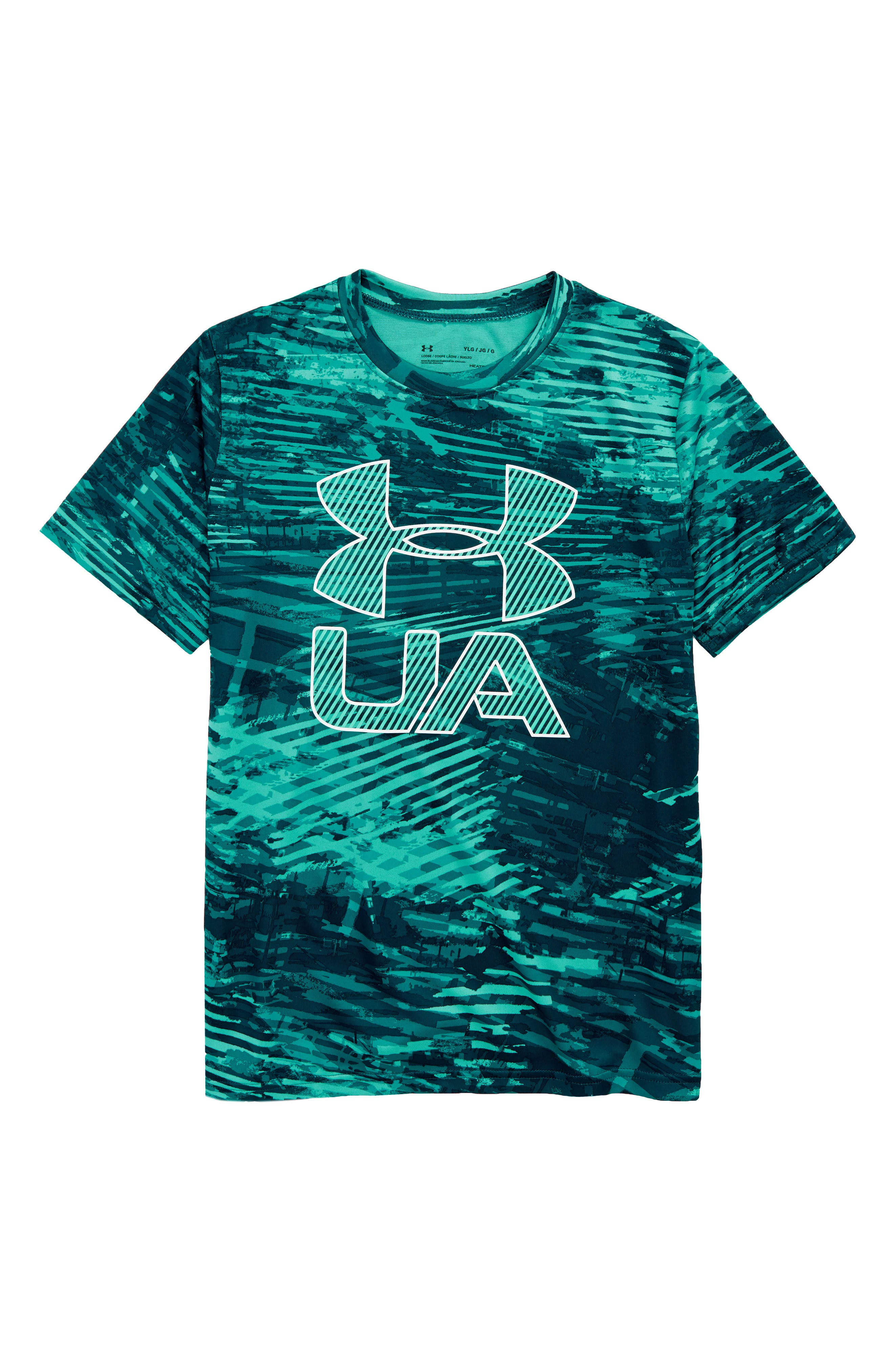 Crossfade HeatGear<sup>®</sup> T-Shirt,                             Main thumbnail 1, color,                             Teal Punch