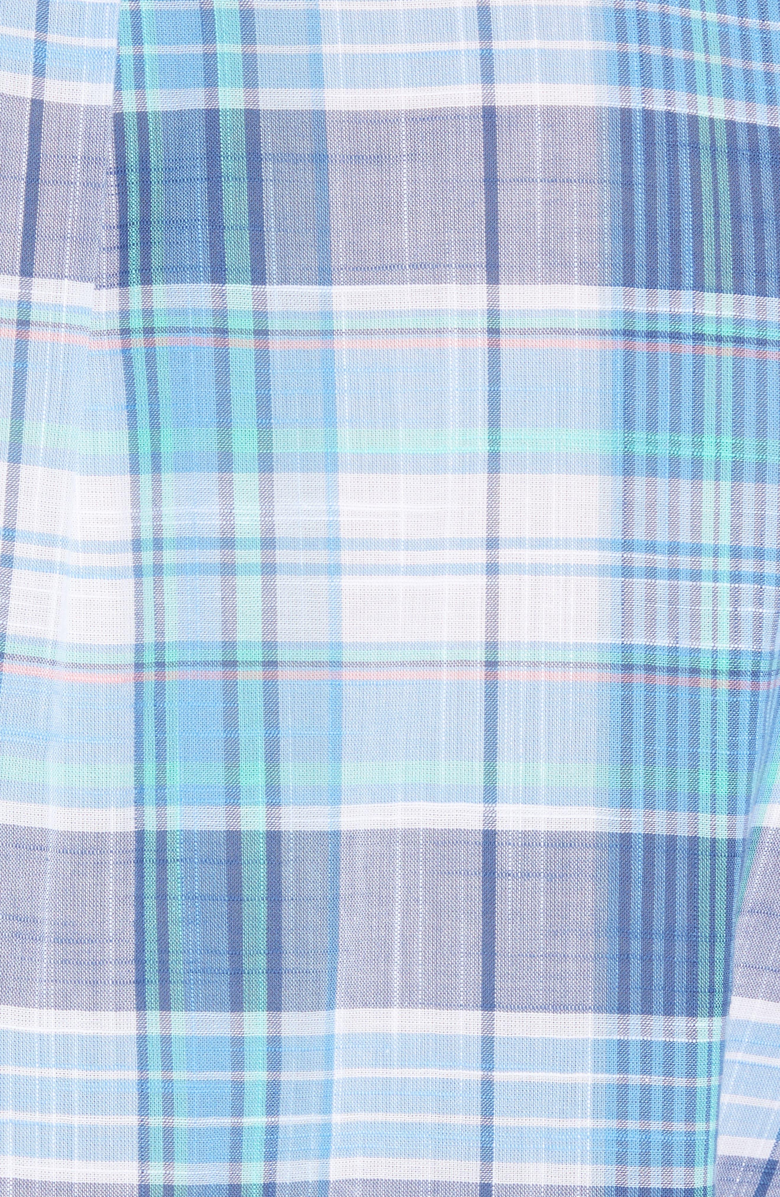 Smith Point Tucker Classic Fit Plaid Sport Shirt,                             Alternate thumbnail 6, color,                             Moonshine