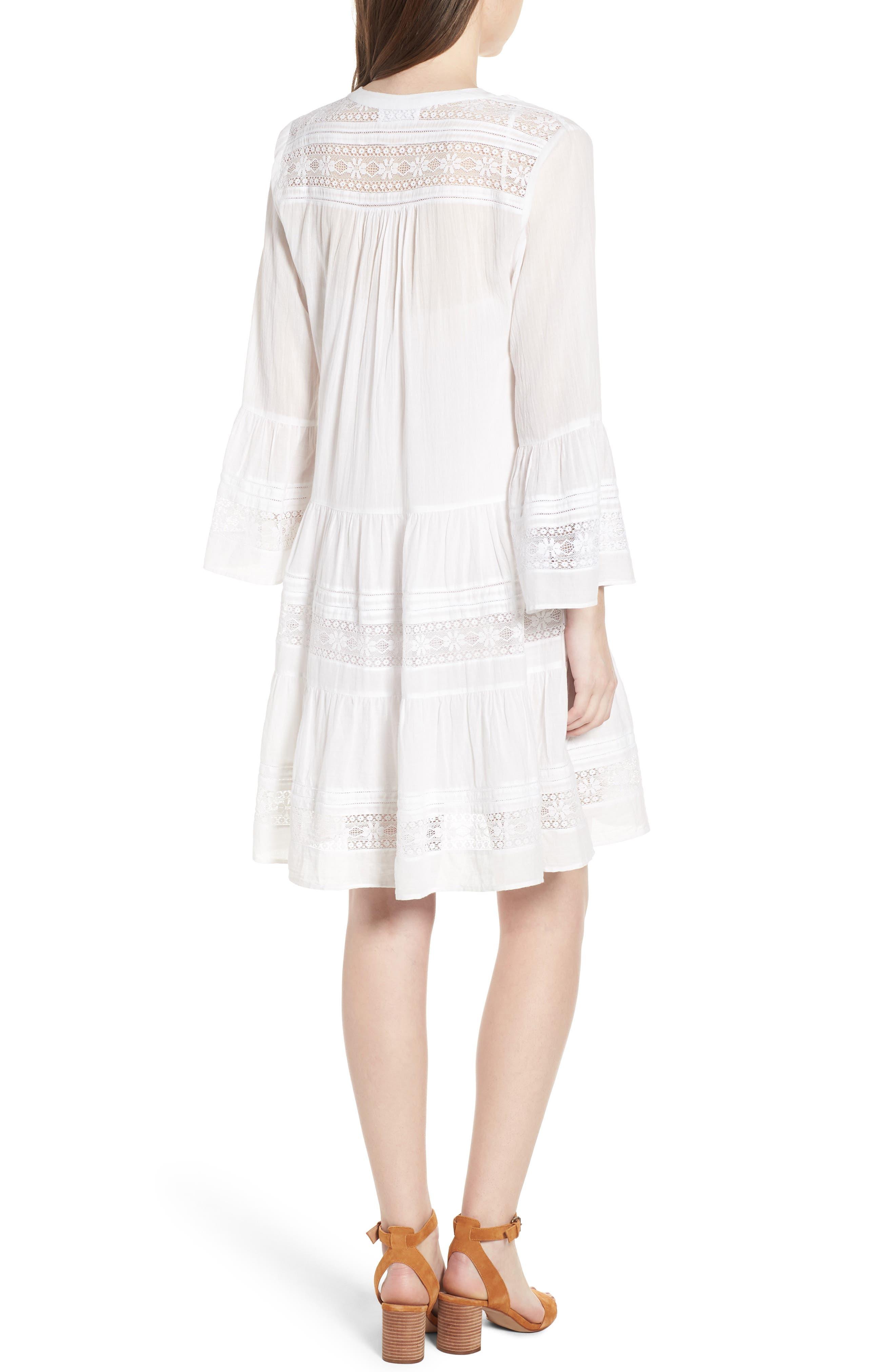 Lace Inset Cotton Gauze Dress,                             Alternate thumbnail 2, color,                             White