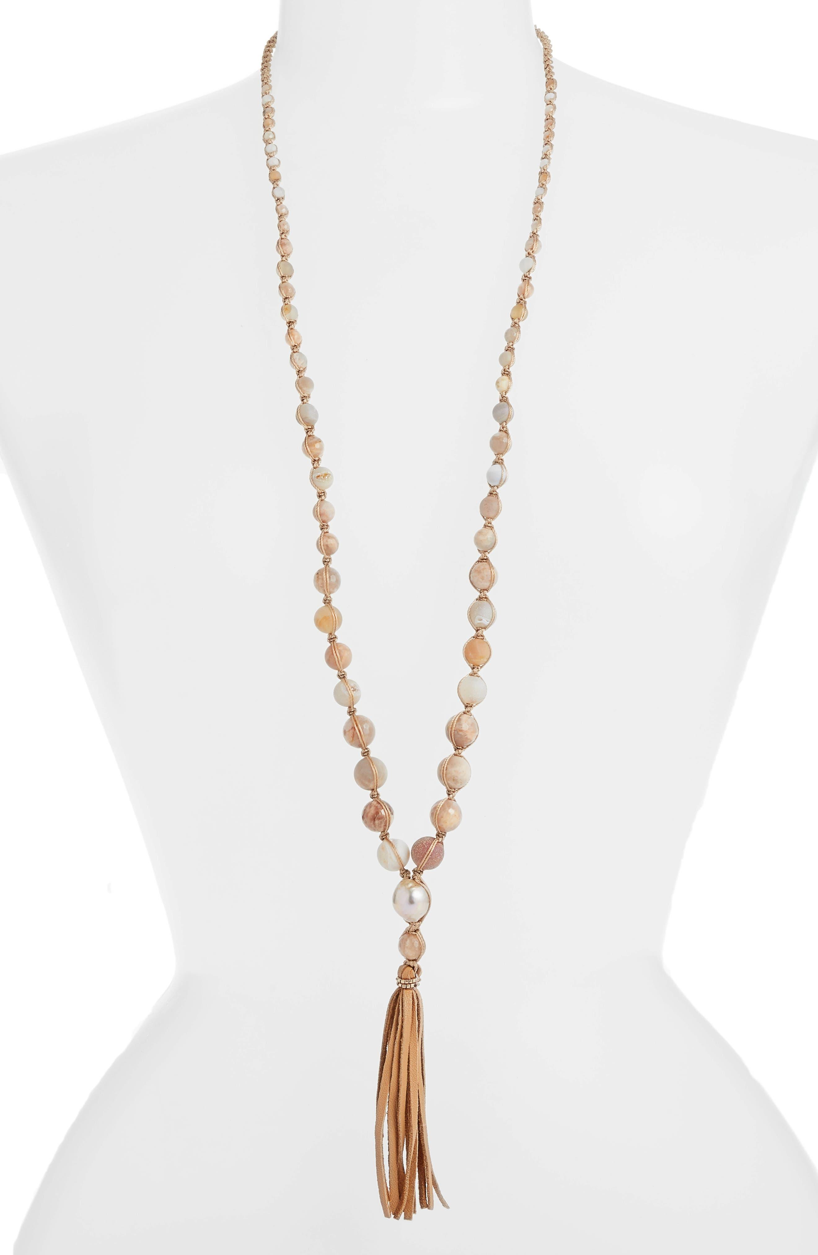 Graduated Tassel Pendant Necklace,                         Main,                         color, Tan Mix