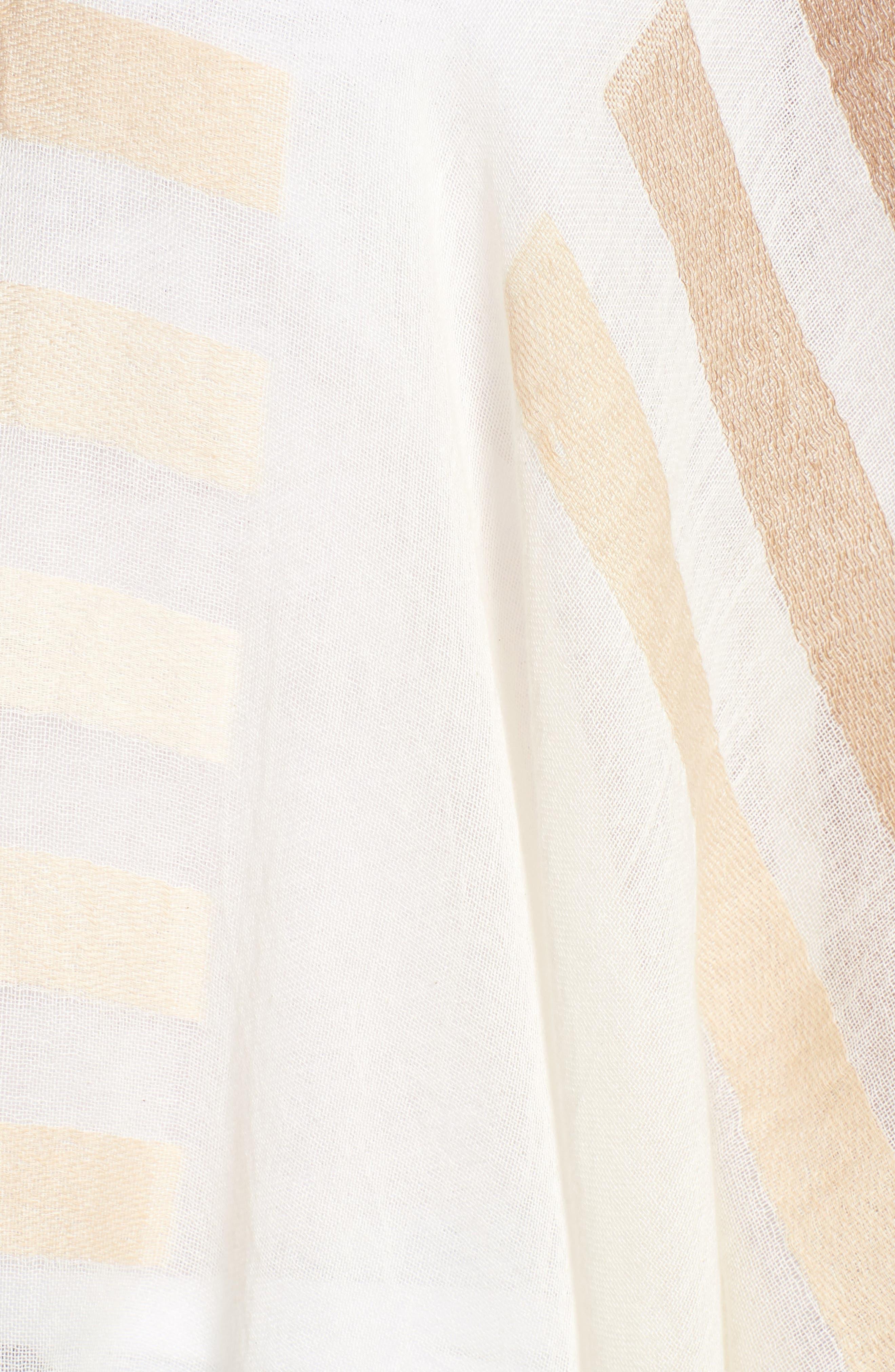 Bay Stripe Yarn Dyed Ruana,                             Alternate thumbnail 5, color,                             White