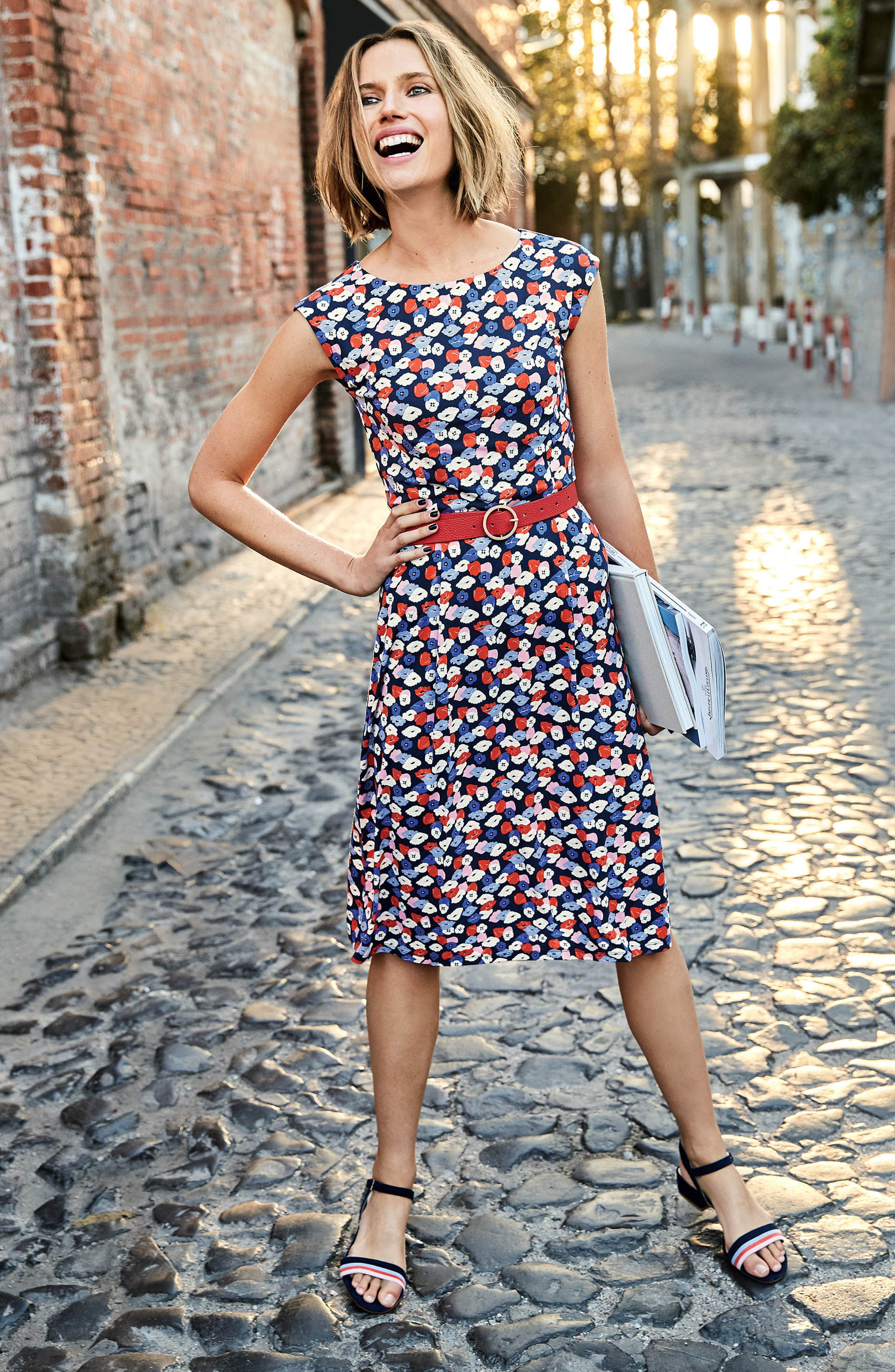 Marina Belted Floral Jersey Dress,                             Alternate thumbnail 4, color,                             Navy Poppy Meadow