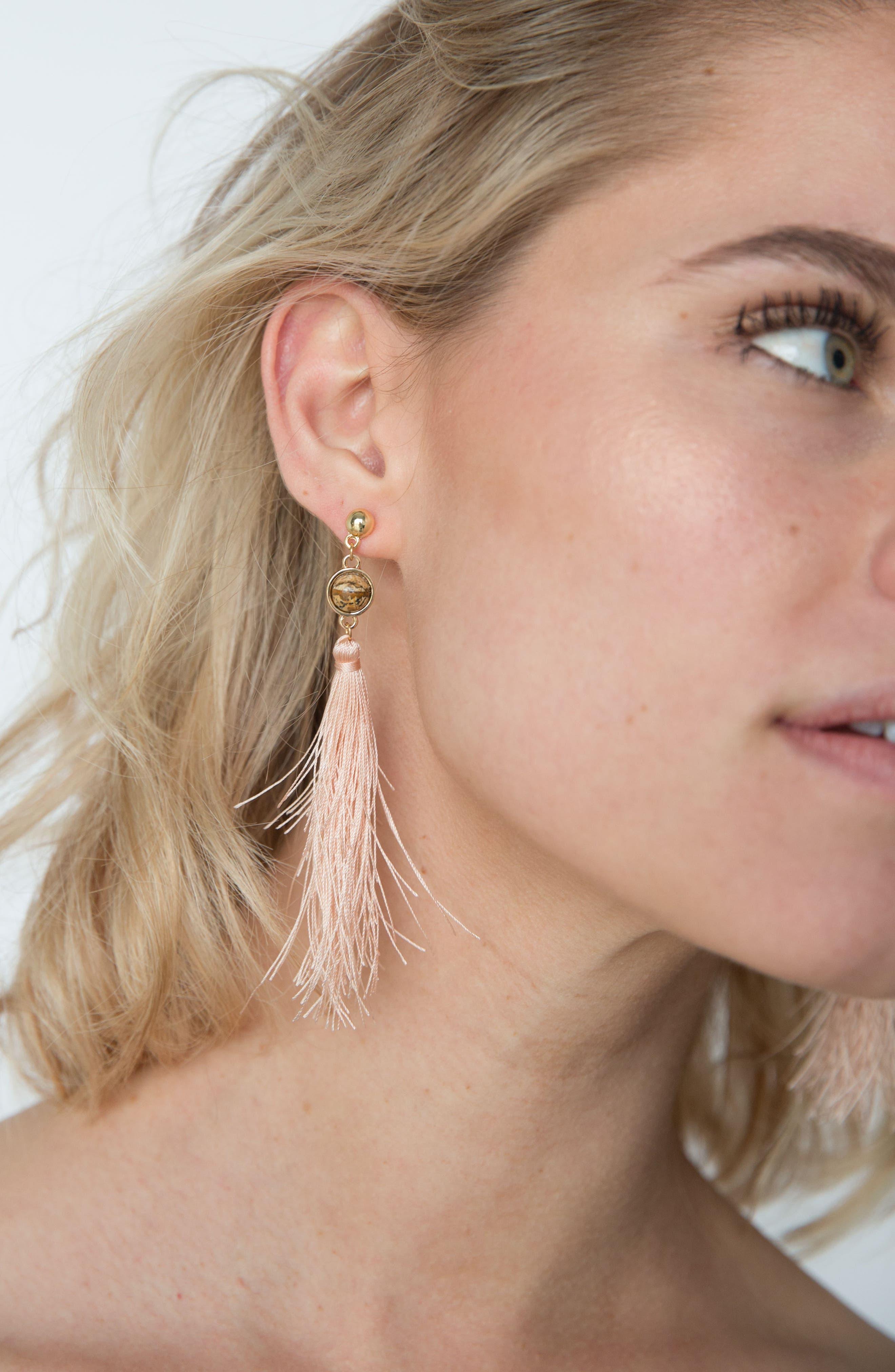 Strawberry Fields Jasper Tassel Earrings,                             Alternate thumbnail 2, color,                             Pink/ Gold