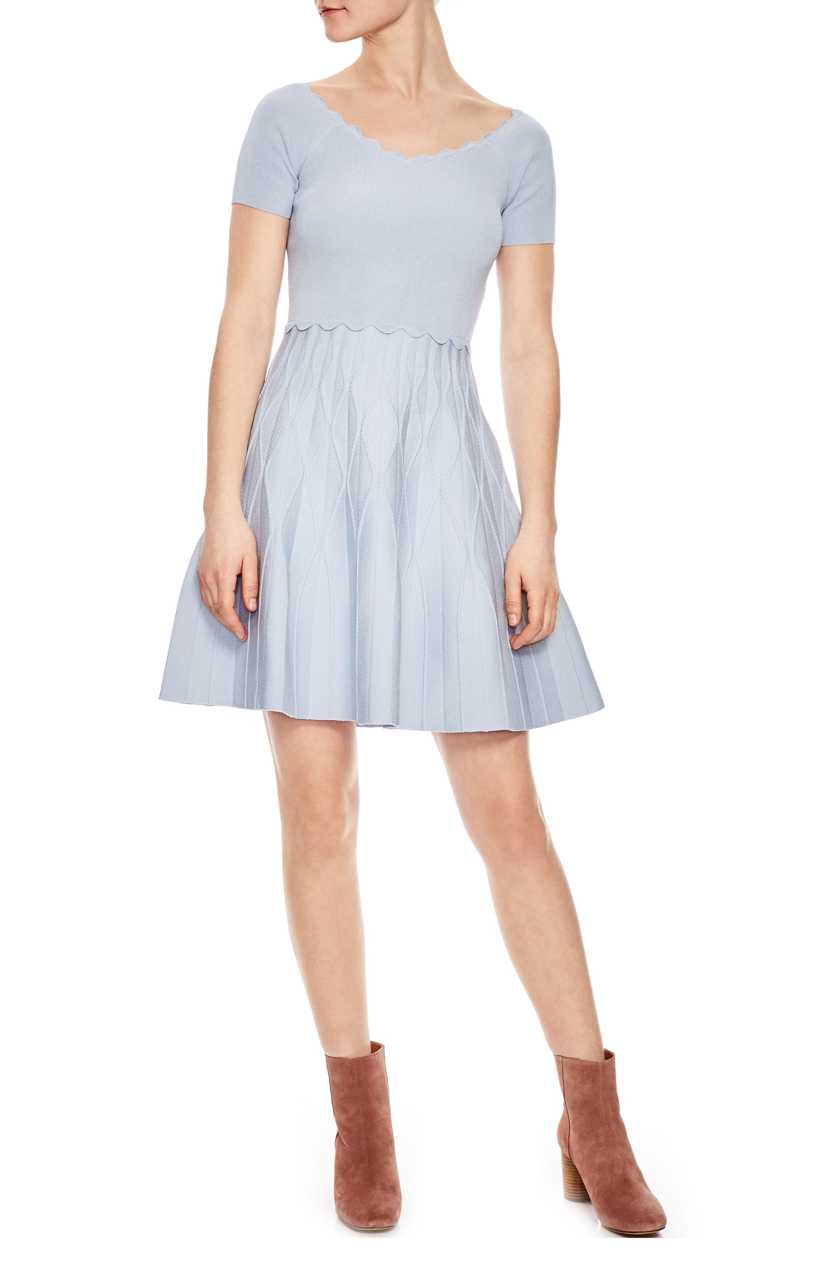 Scallop Detail Fit & Flare Dress,                         Main,                         color, Bleu Gris
