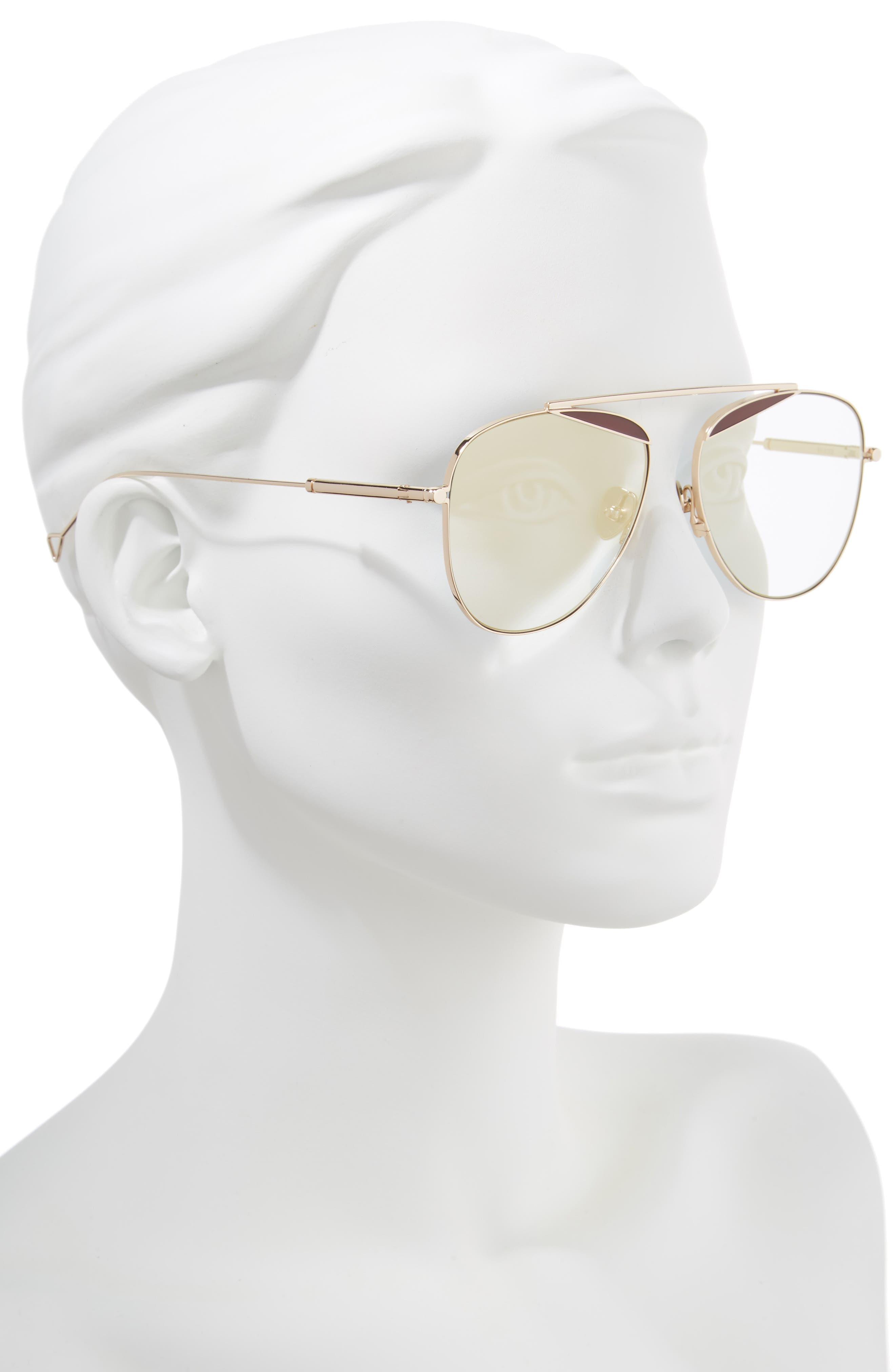 The Durete 58mm Aviator Sunglasses,                             Alternate thumbnail 2, color,                             Golden