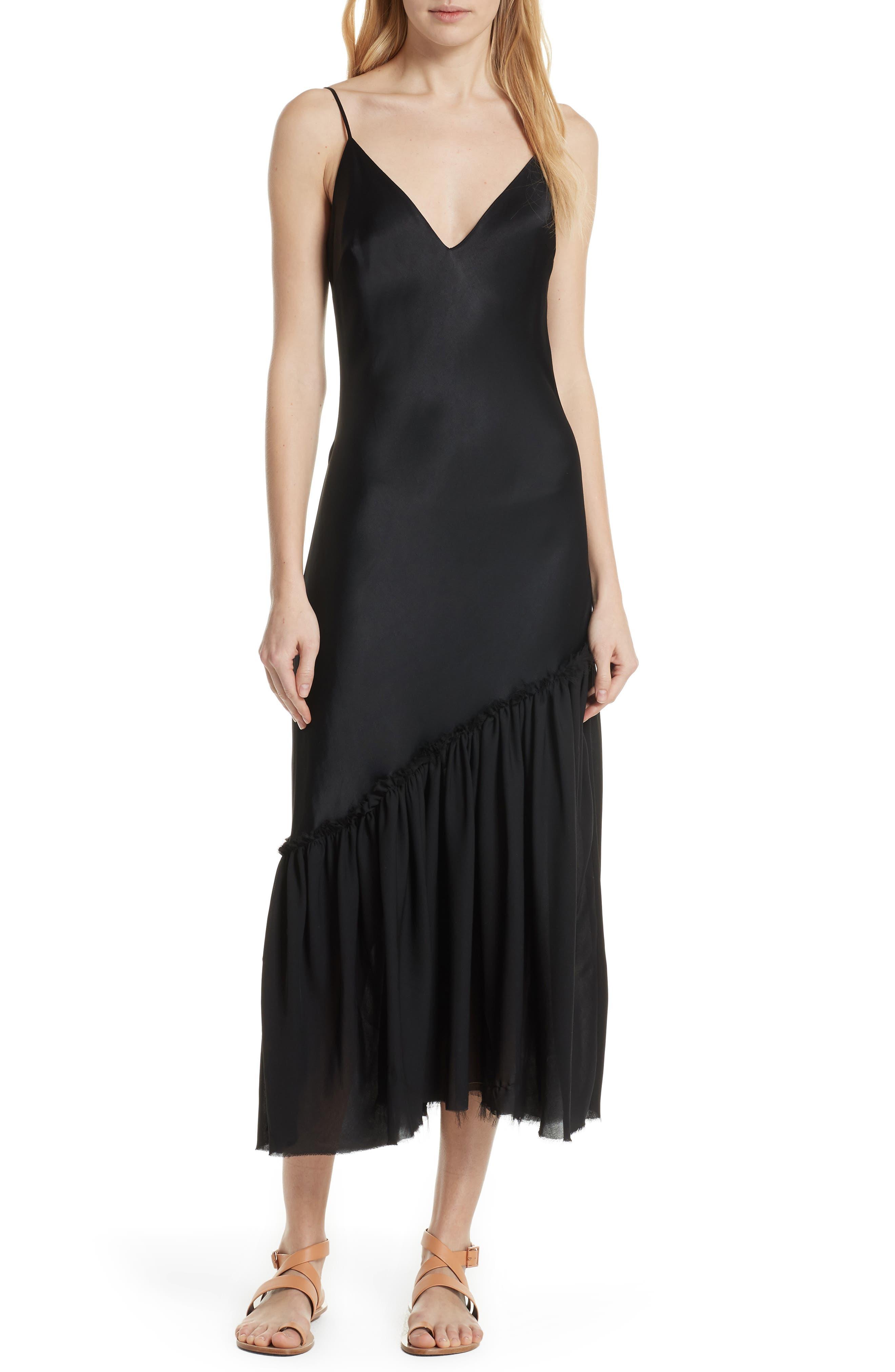 Ruffle Hem Satin Slipdress,                         Main,                         color, Noir