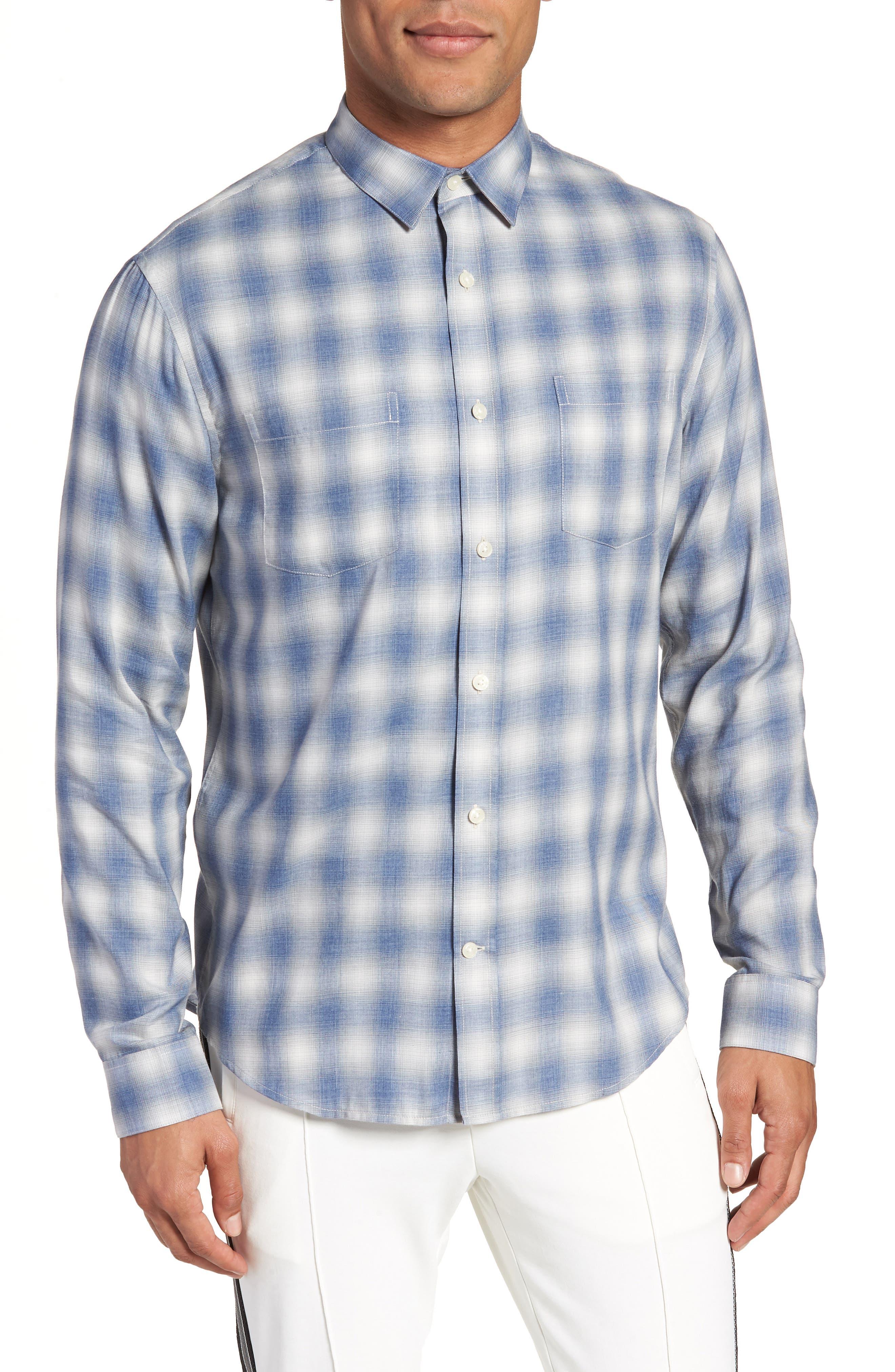 Shadow Slim Fit Plaid Sport Shirt,                             Alternate thumbnail 4, color,                             Spruce Blue