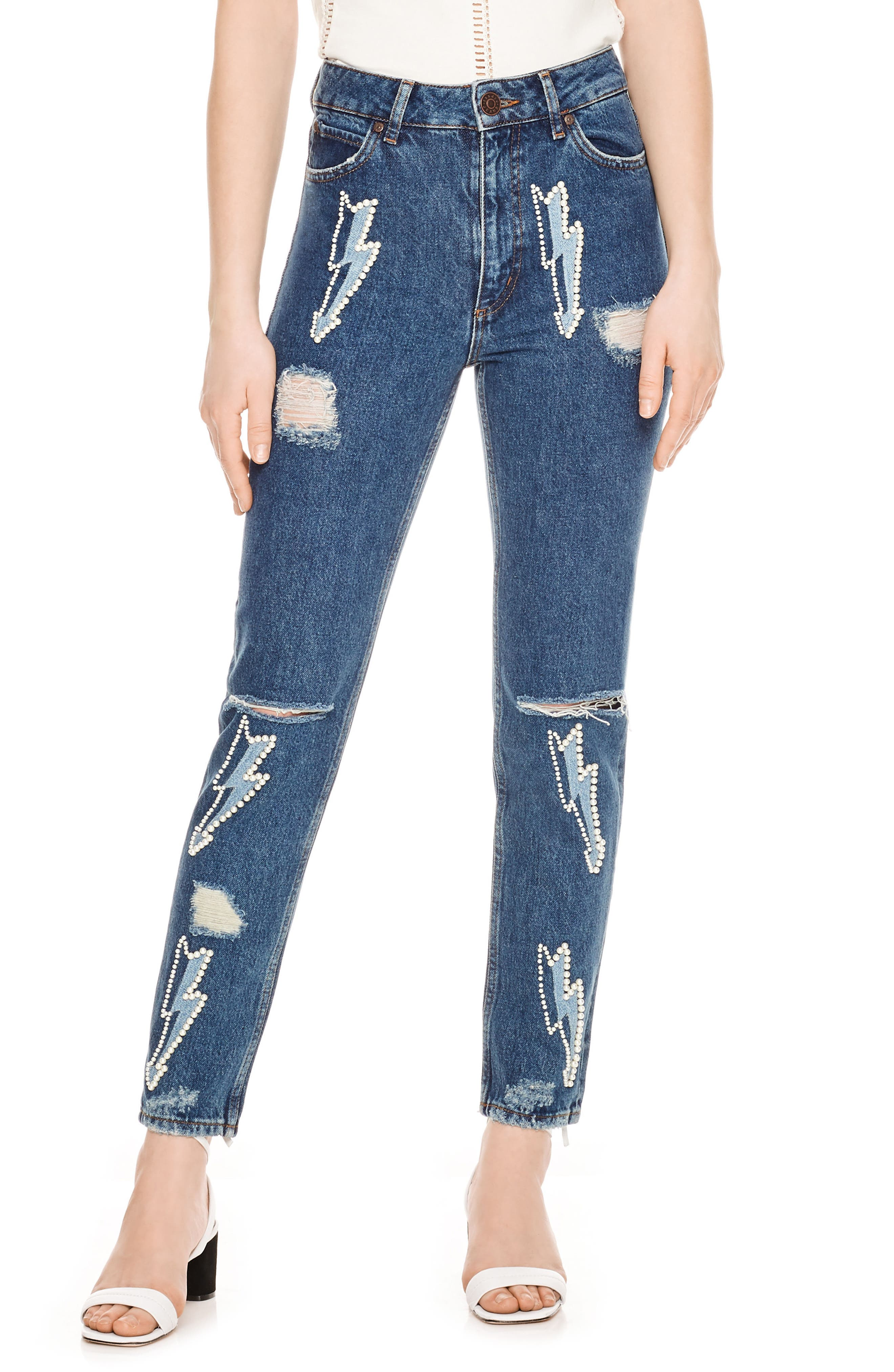 Ripped Lighting Bolt Jeans,                             Main thumbnail 1, color,                             Blue Vintage - Denim