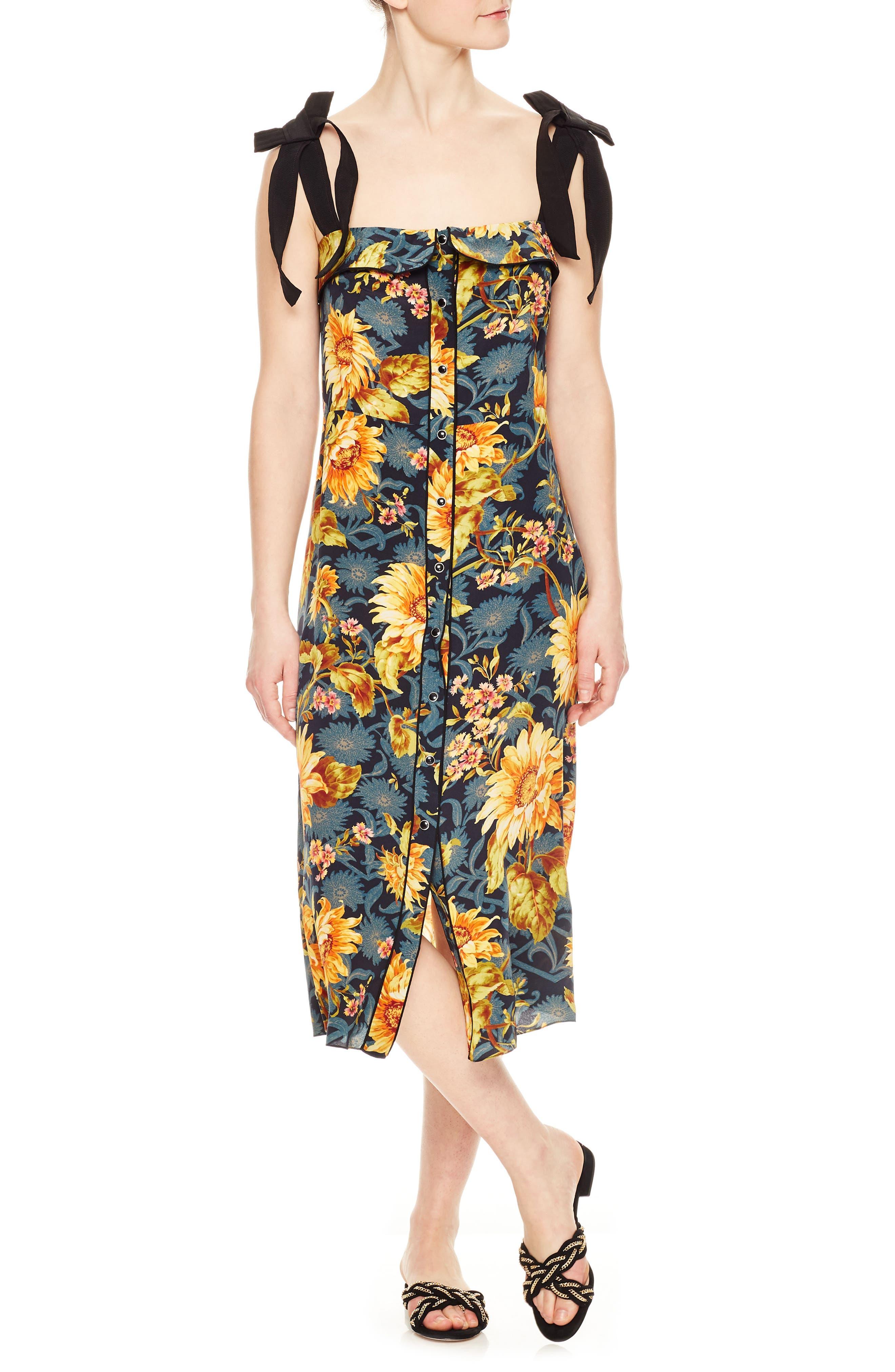Floral Silk Sundress,                             Main thumbnail 1, color,                             Multicolore