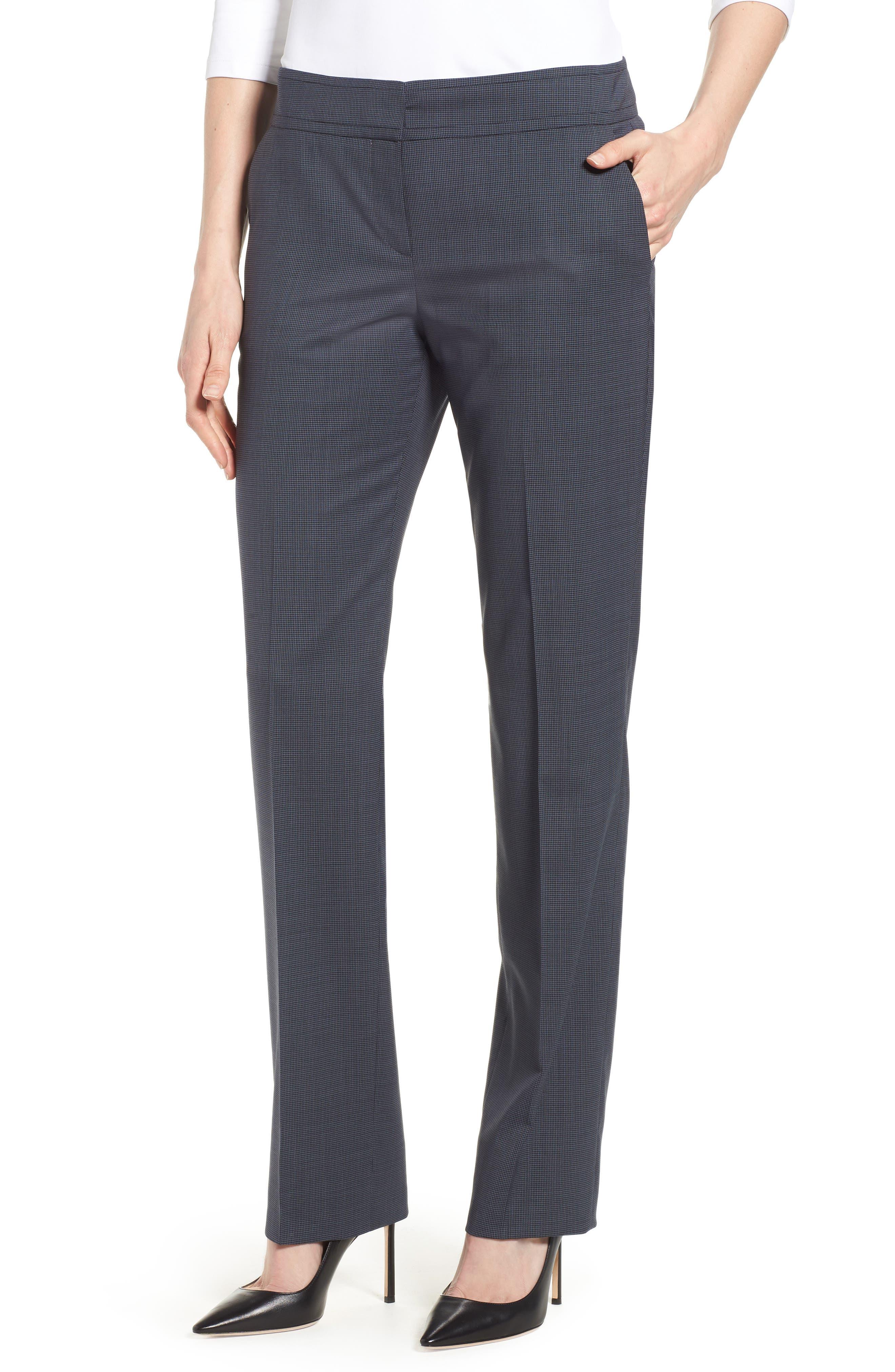 Talouise Pepita Stretch Wool Suit Pants,                         Main,                         color, Nautic Blue Fantasy