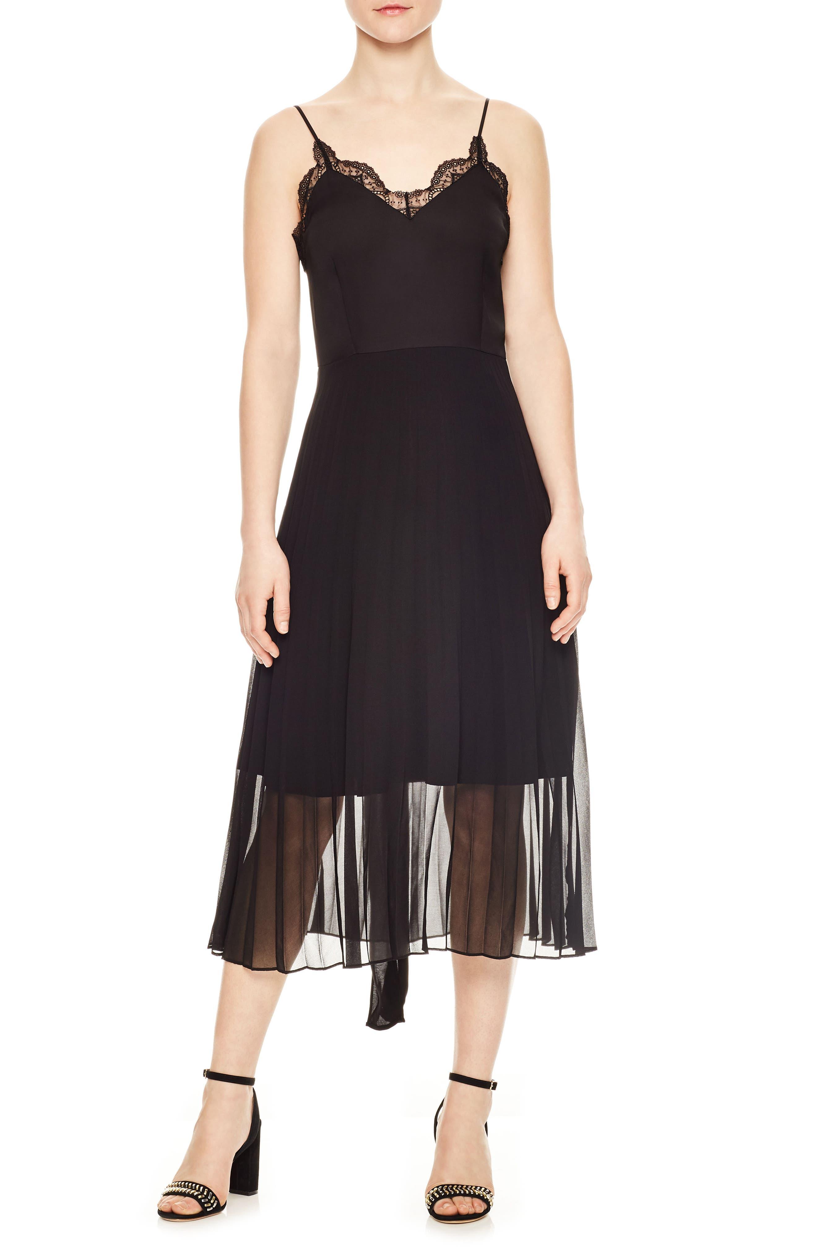 Pleated Chiffon Overlay Dress,                         Main,                         color, Noir