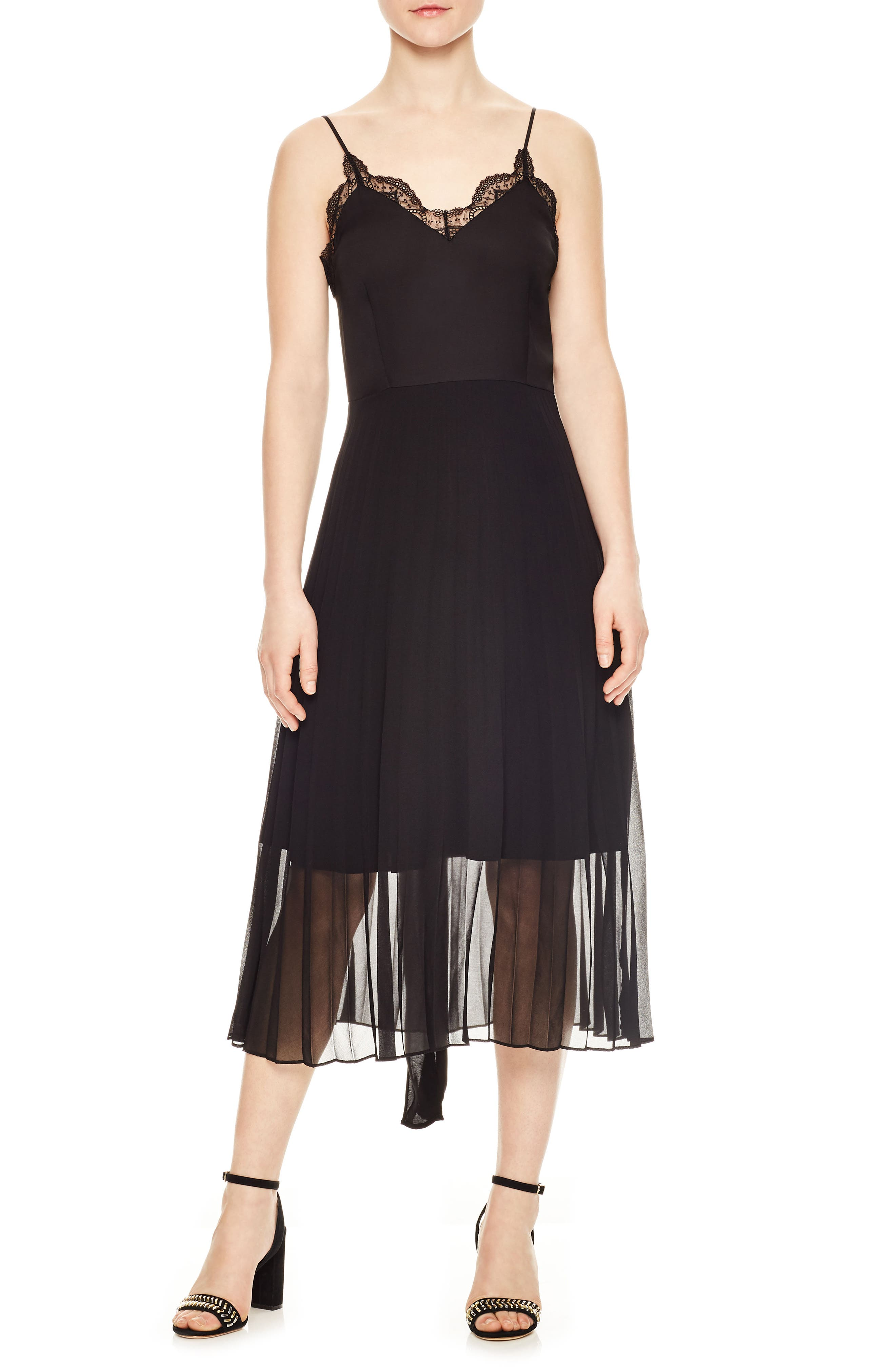 sandro Pleated Chiffon Overlay Dress