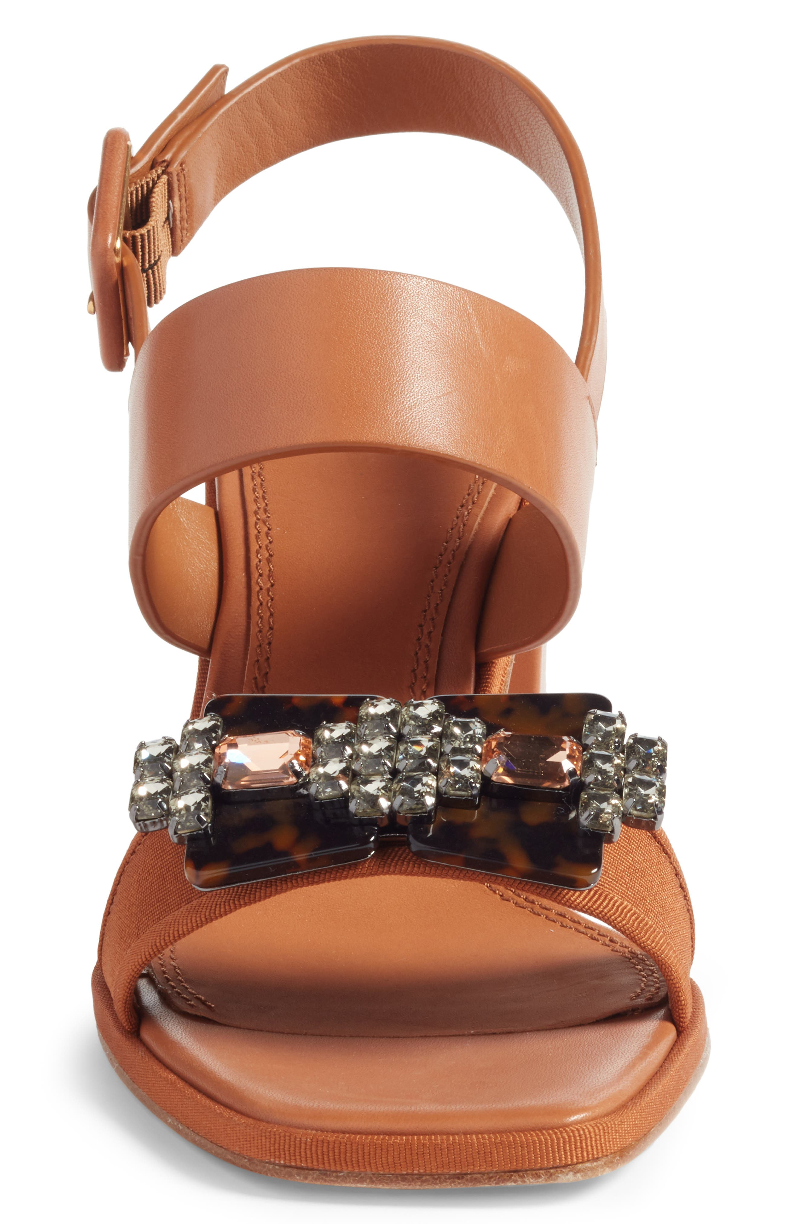 Delaney Embellished Double Strap Sandal,                             Alternate thumbnail 4, color,                             Tan/ Tan
