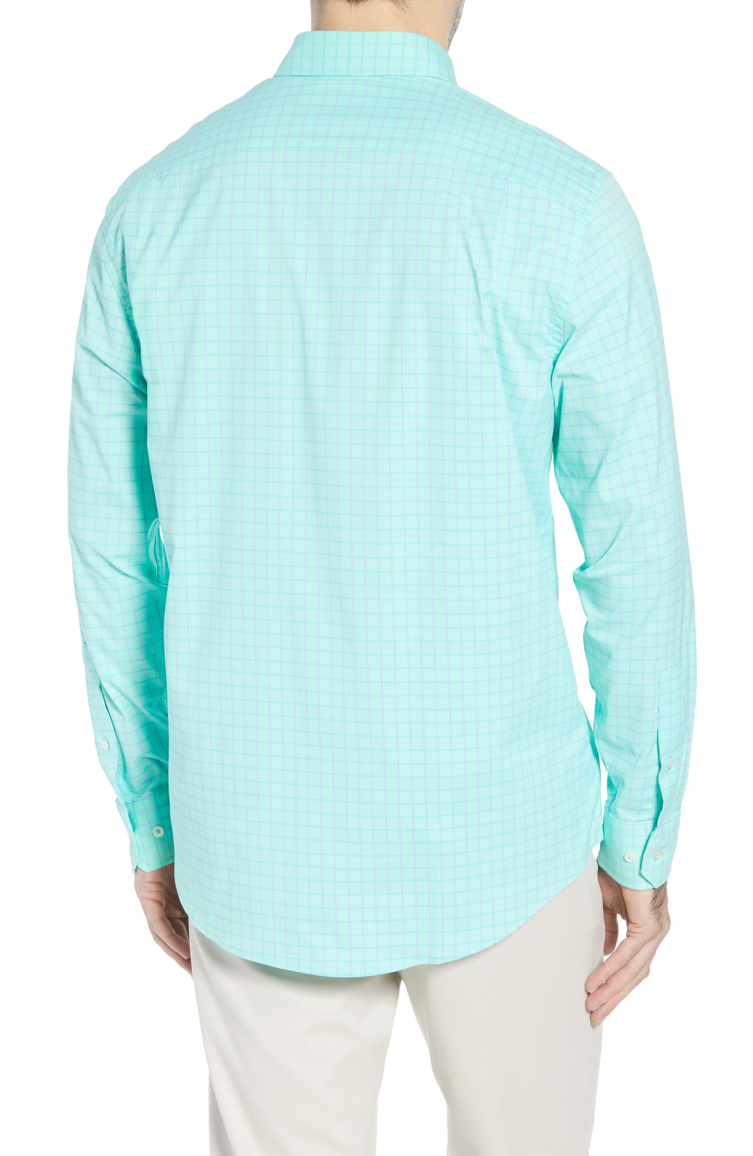 Intercoastal Gordia Plaid Sport Shirt,                             Alternate thumbnail 3, color,                             Sea Foam