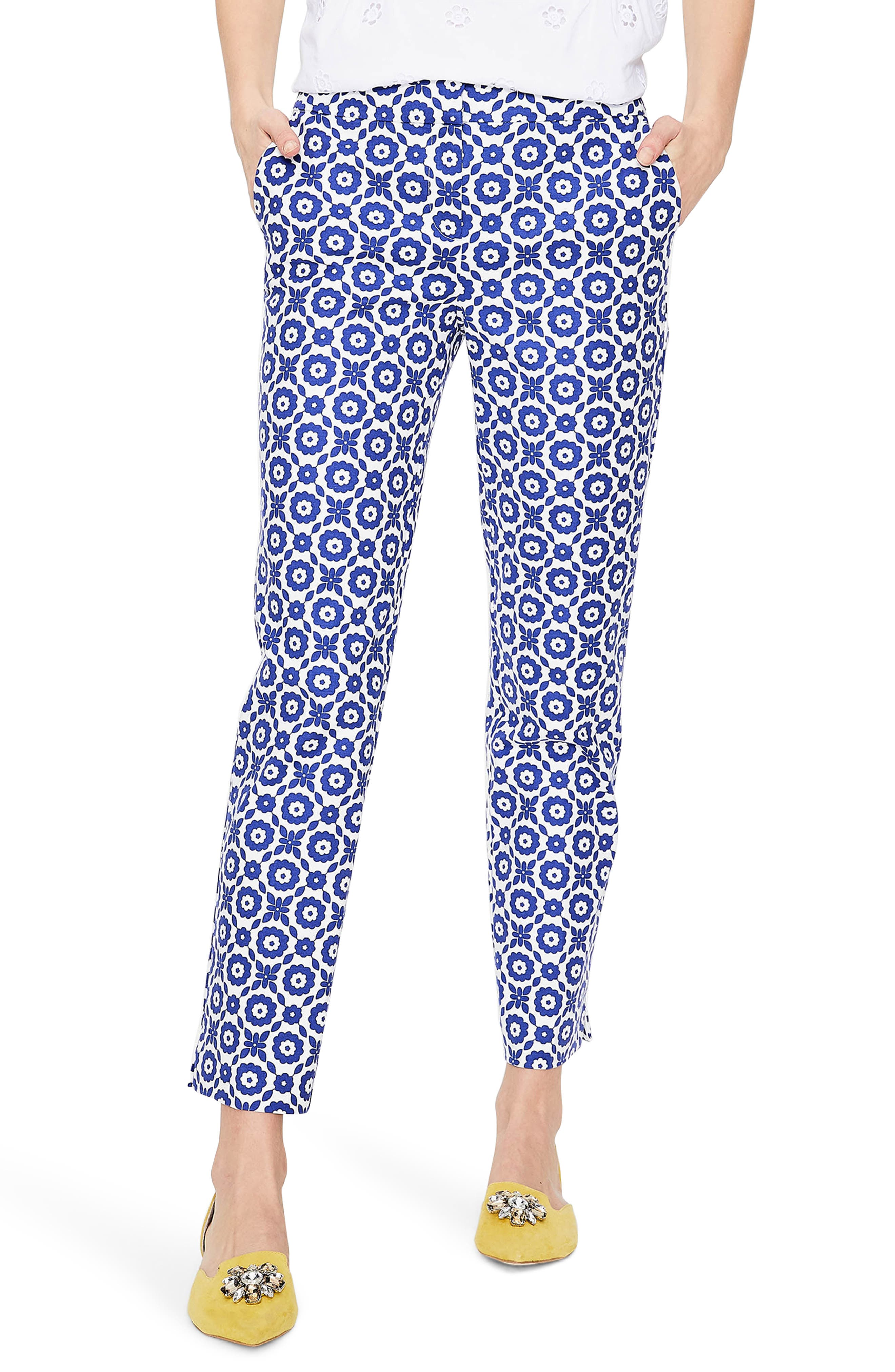 Richmond Polka Dot Stripe Contrast Ankle Pants,                         Main,                         color, Greek Blue/ Daisy Chain