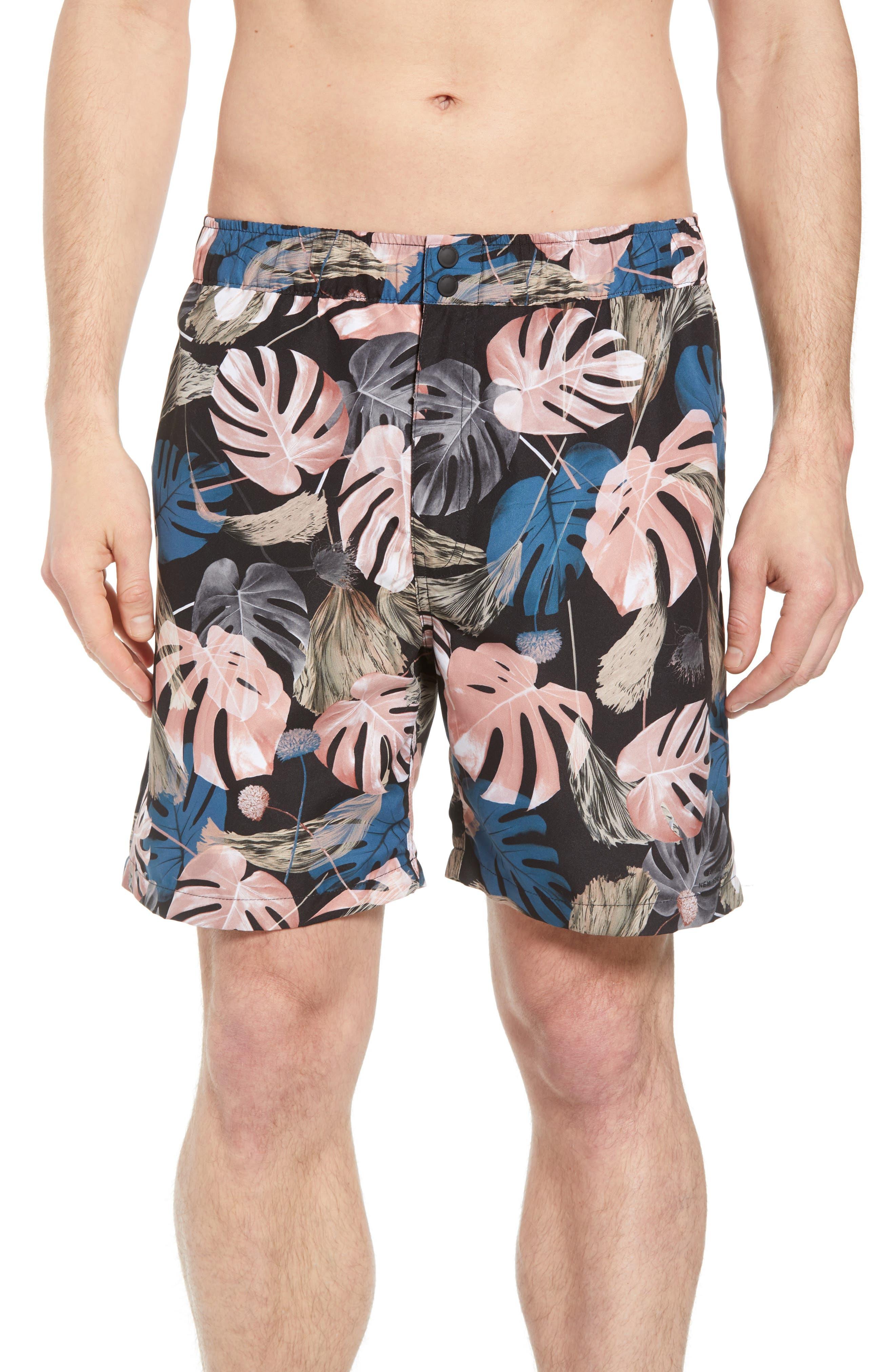 Trent Monstera Swim Shorts,                             Main thumbnail 1, color,                             Monstera Print