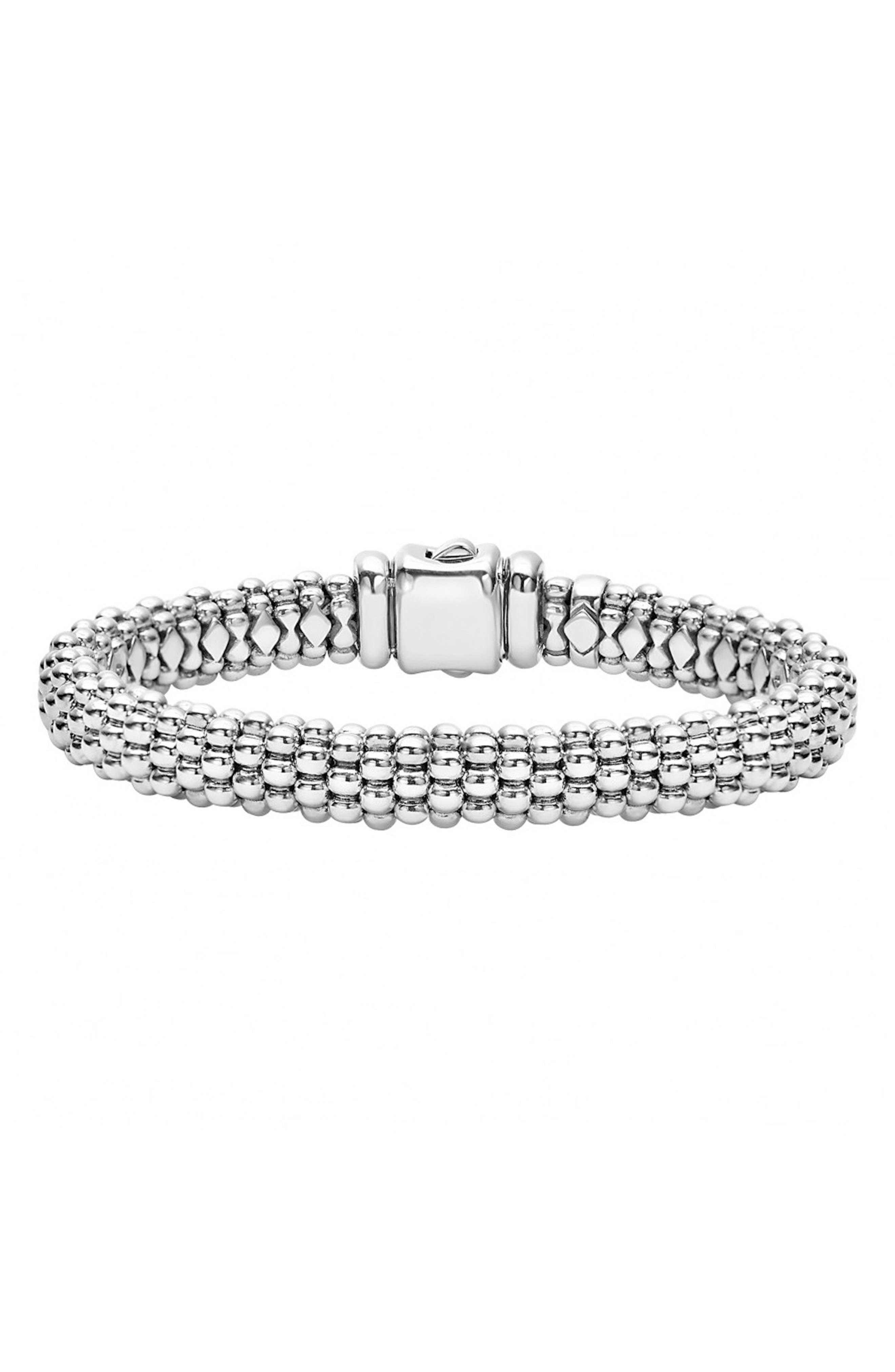 Caviar Rope Bracelet,                             Main thumbnail 1, color,                             Silver
