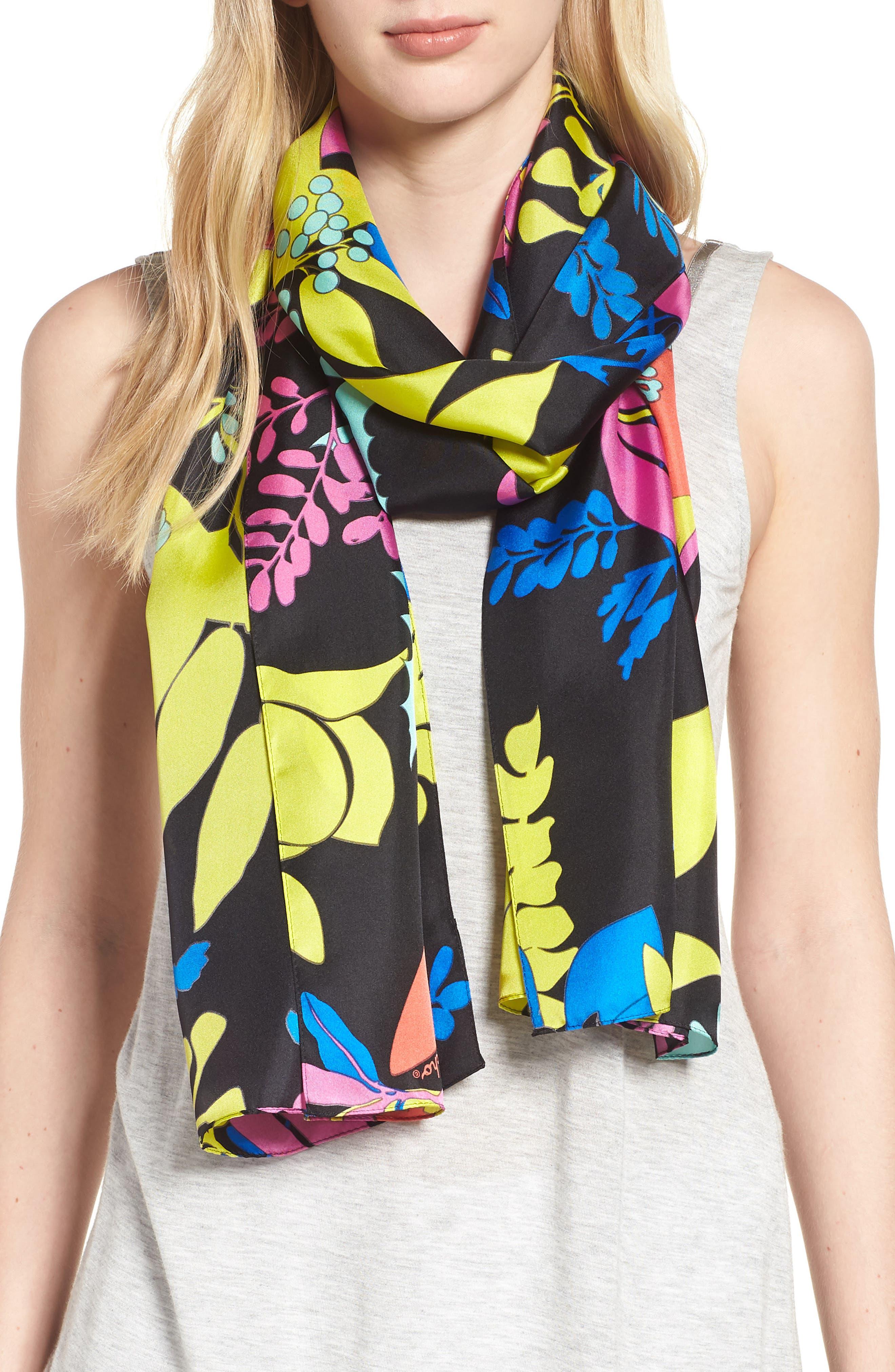 Alonnah Floral Silk Scarf,                             Main thumbnail 1, color,                             Black