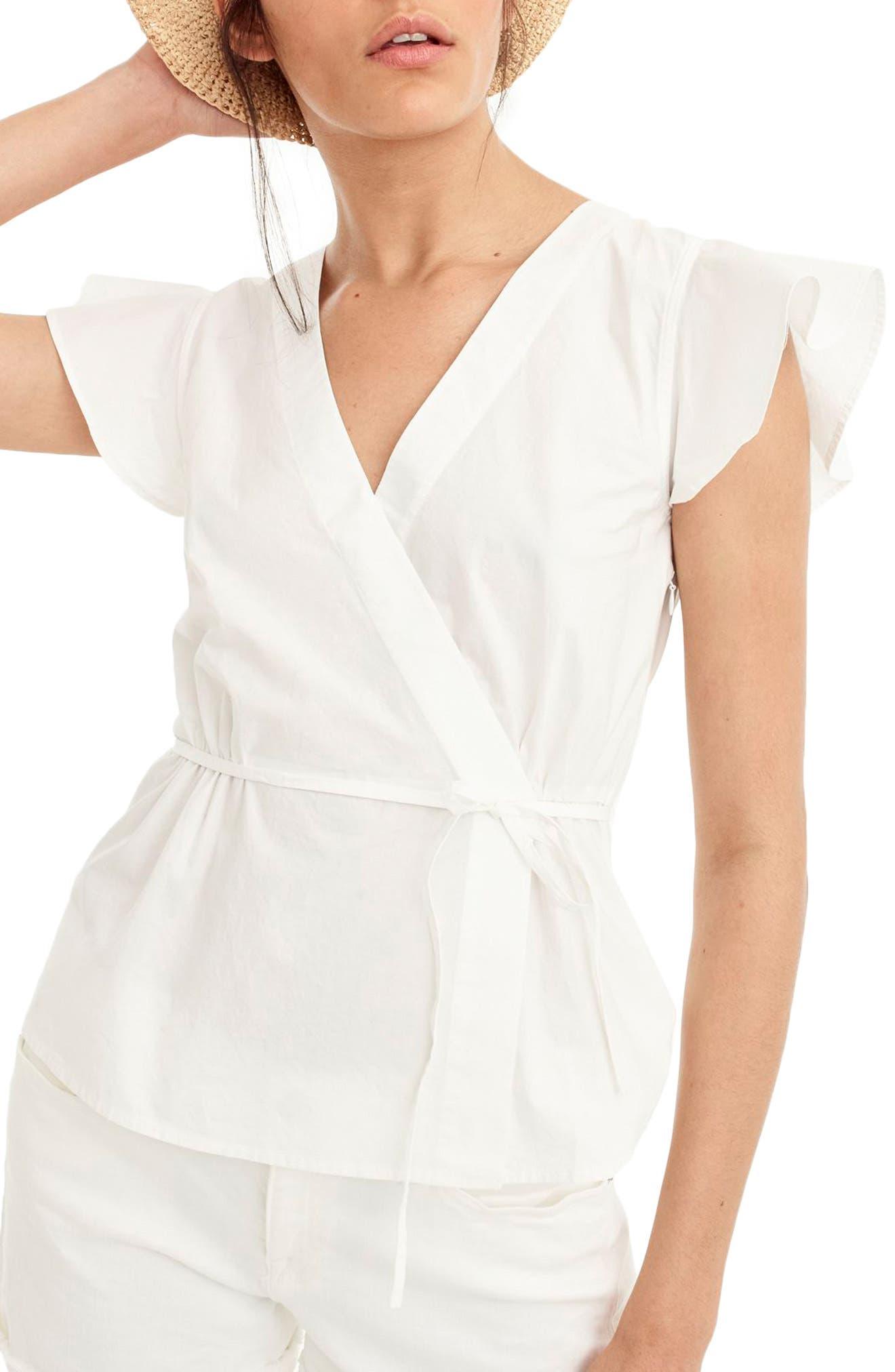Flutter Sleeve Cotton Poplin Wrap Top,                             Main thumbnail 1, color,                             White