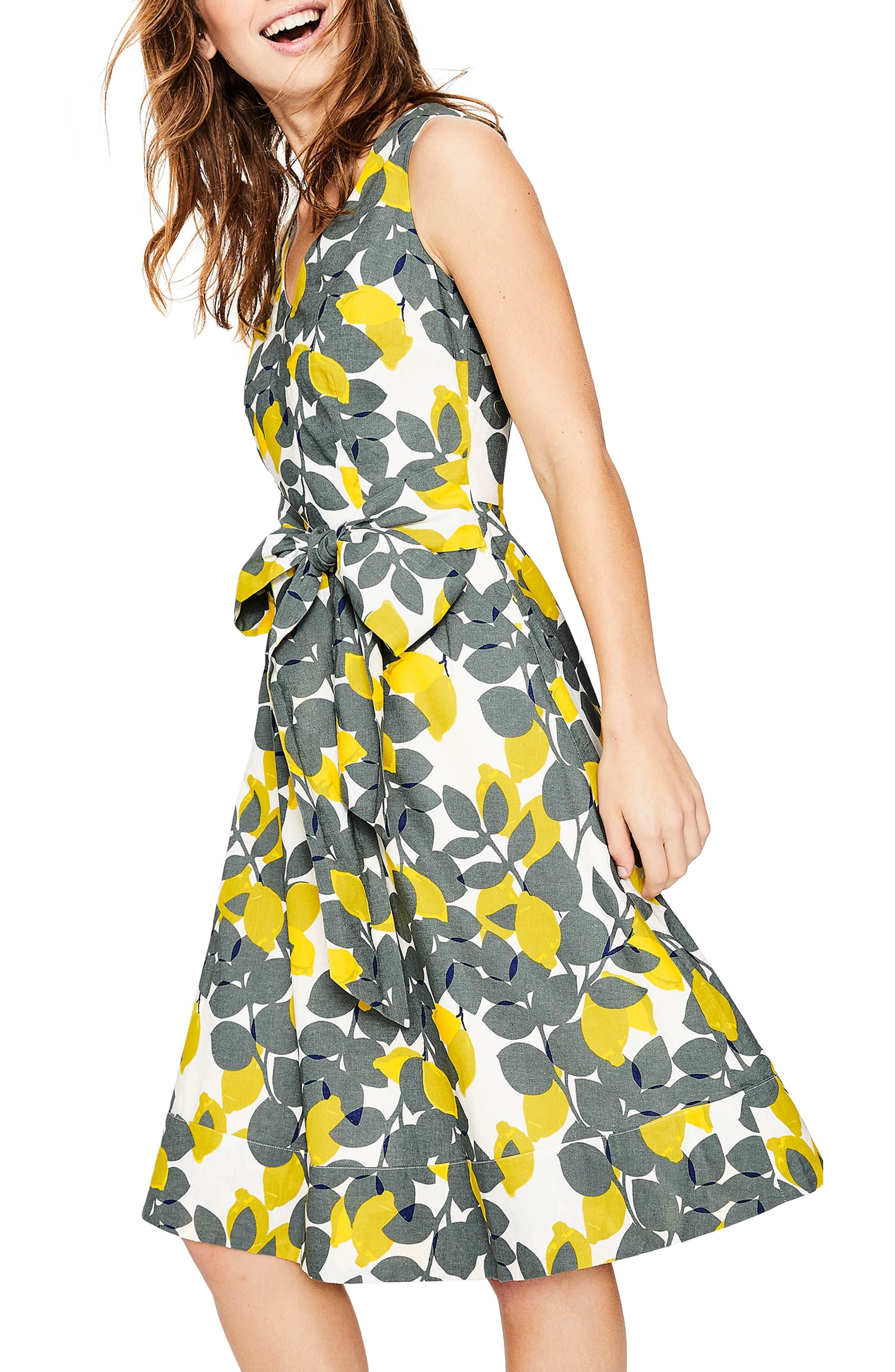 Jade Fit & Flare Linen Cotton Dress,                             Alternate thumbnail 4, color,                             Dark Sage Lemons