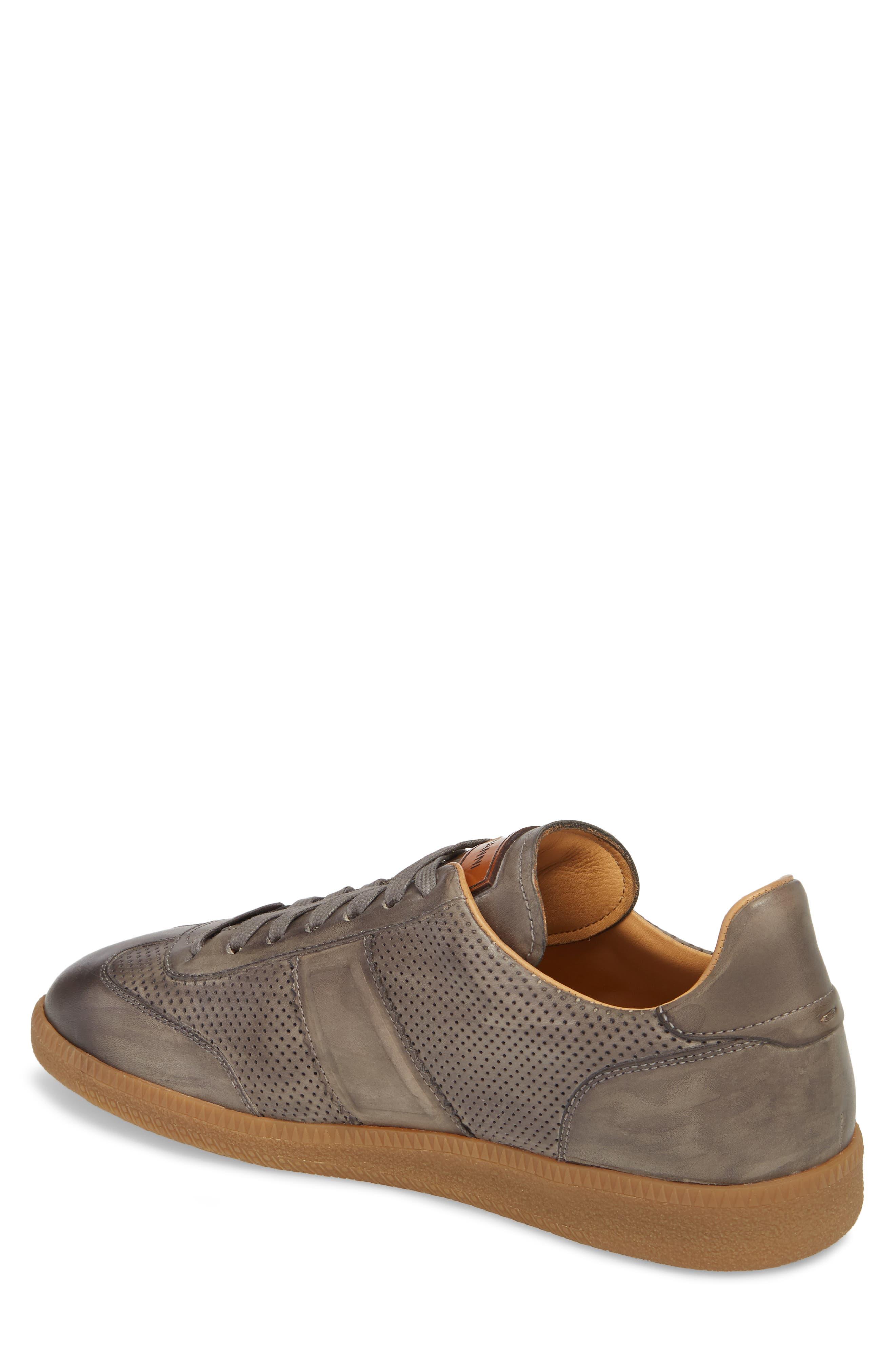 Xavi Embossed Low Top Sneaker,                             Alternate thumbnail 2, color,                             Grey/ Grey Leather