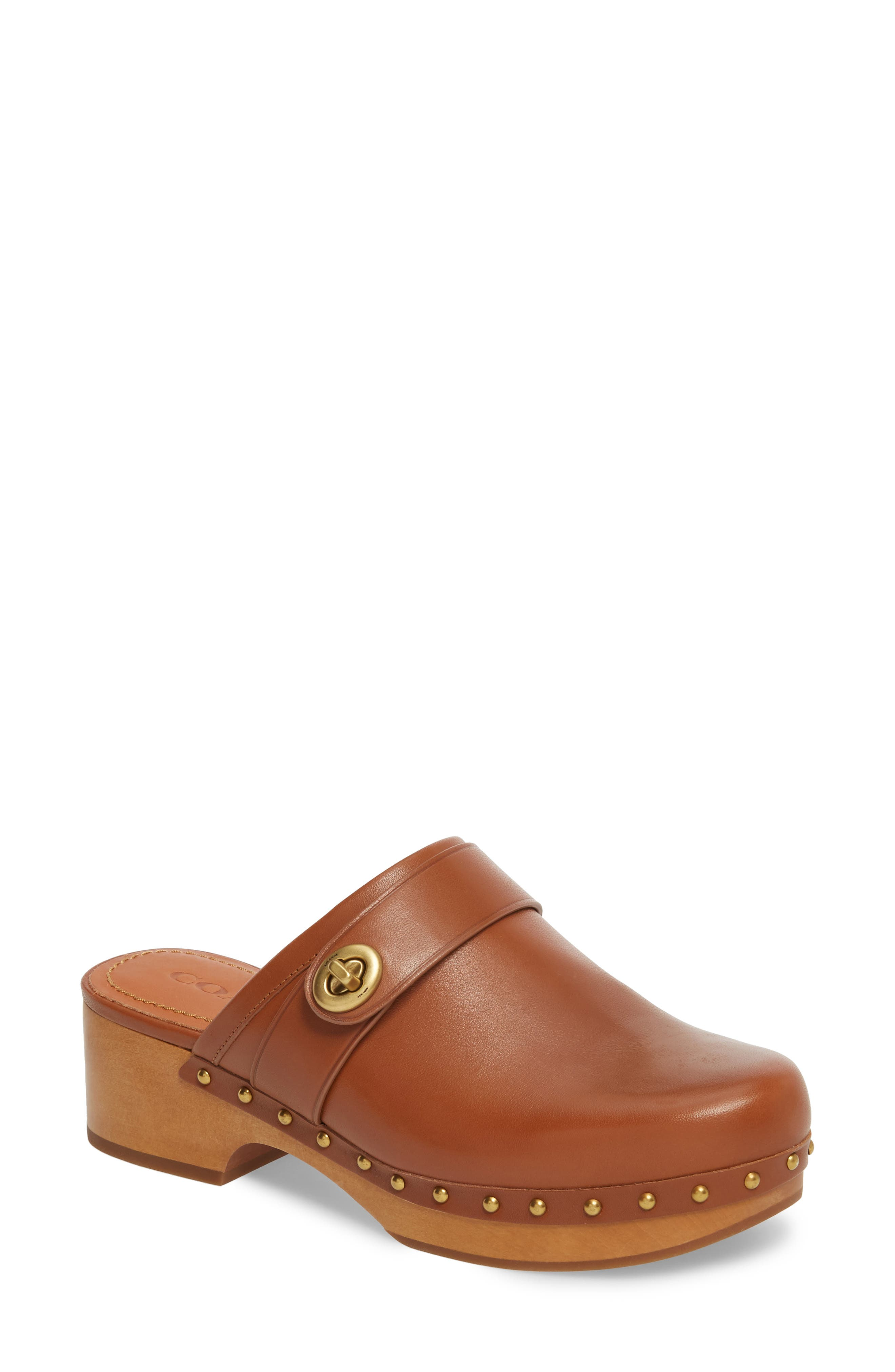 Turnlock Clog,                         Main,                         color, Saddle Leather