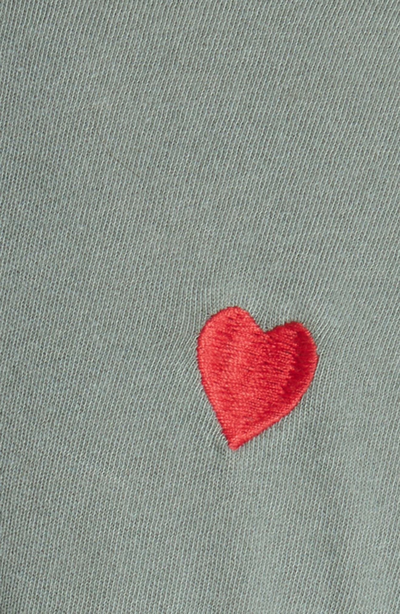 The Embroidered Boxy Crew Tee,                             Alternate thumbnail 5, color,                             Moss Army/ Red Hearts
