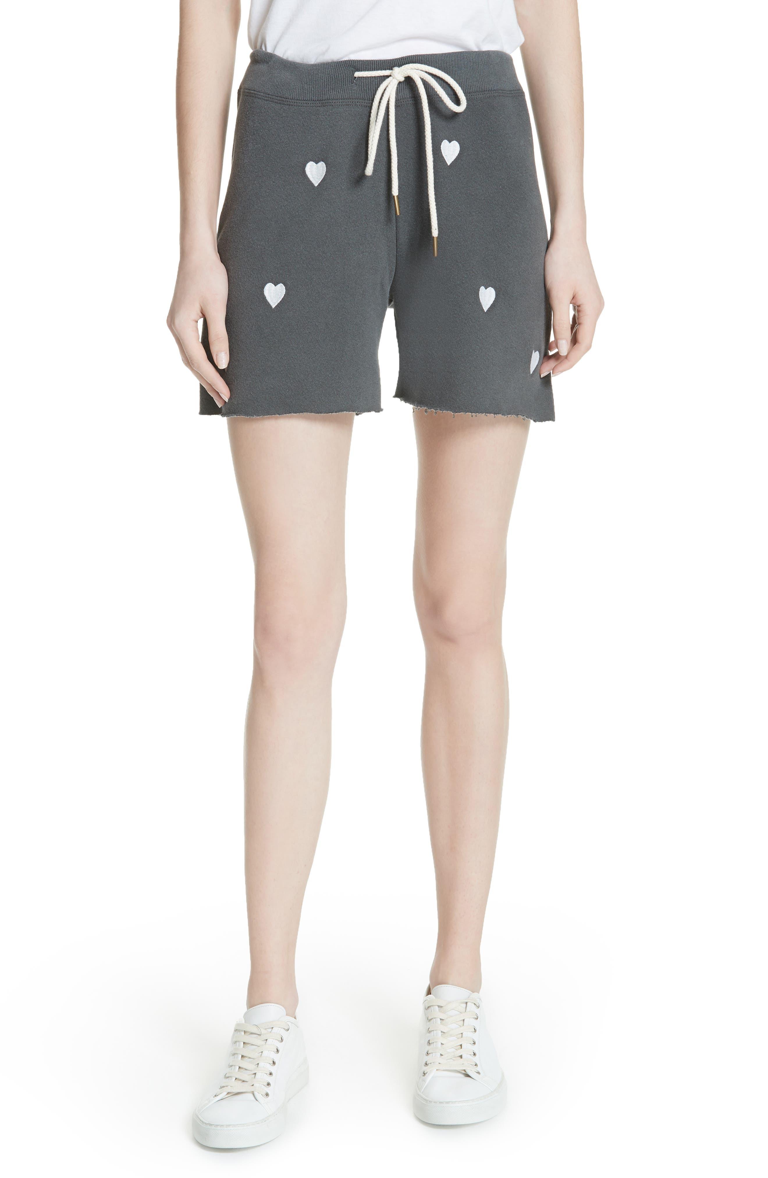 The Sweat Shorts,                             Main thumbnail 1, color,                             Washed Black/ White Hearts