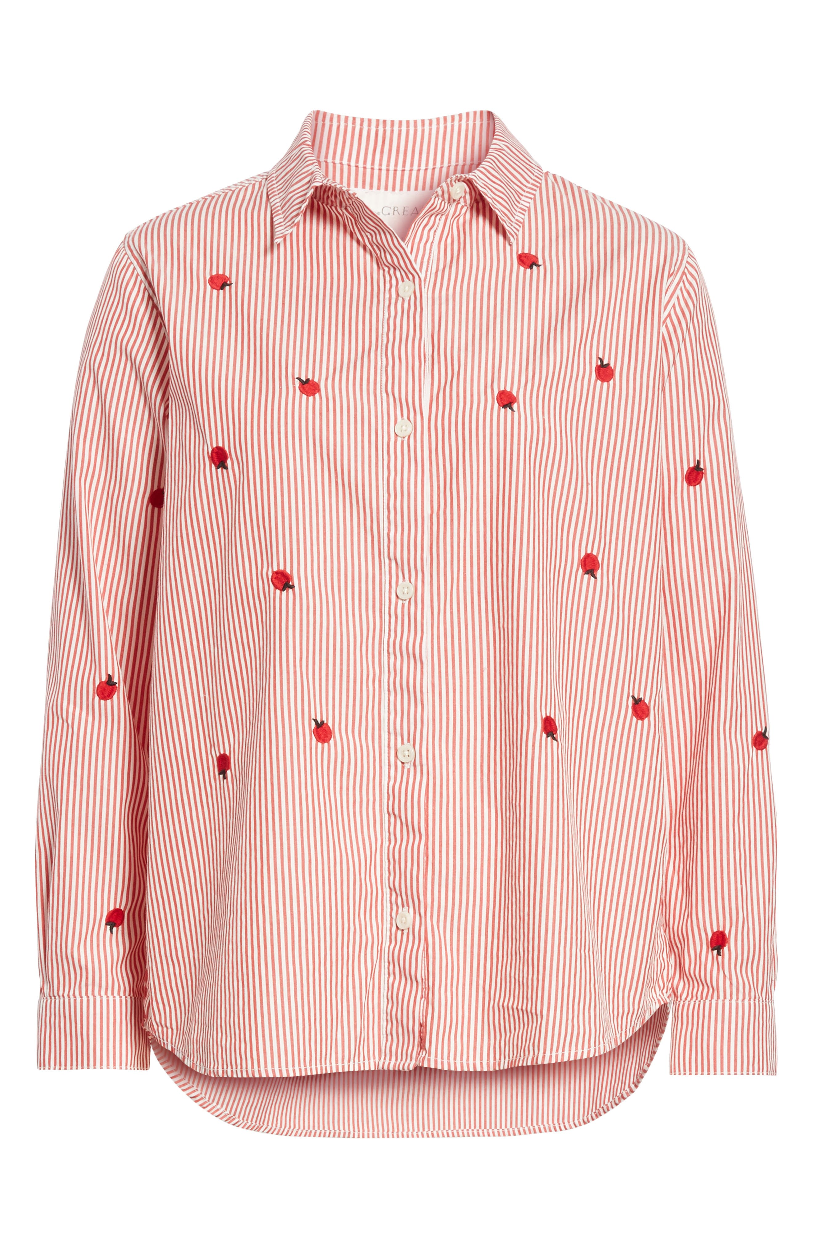 The Campus Shirt,                             Alternate thumbnail 6, color,                             Poppy Stripe/ Apple Embroidery